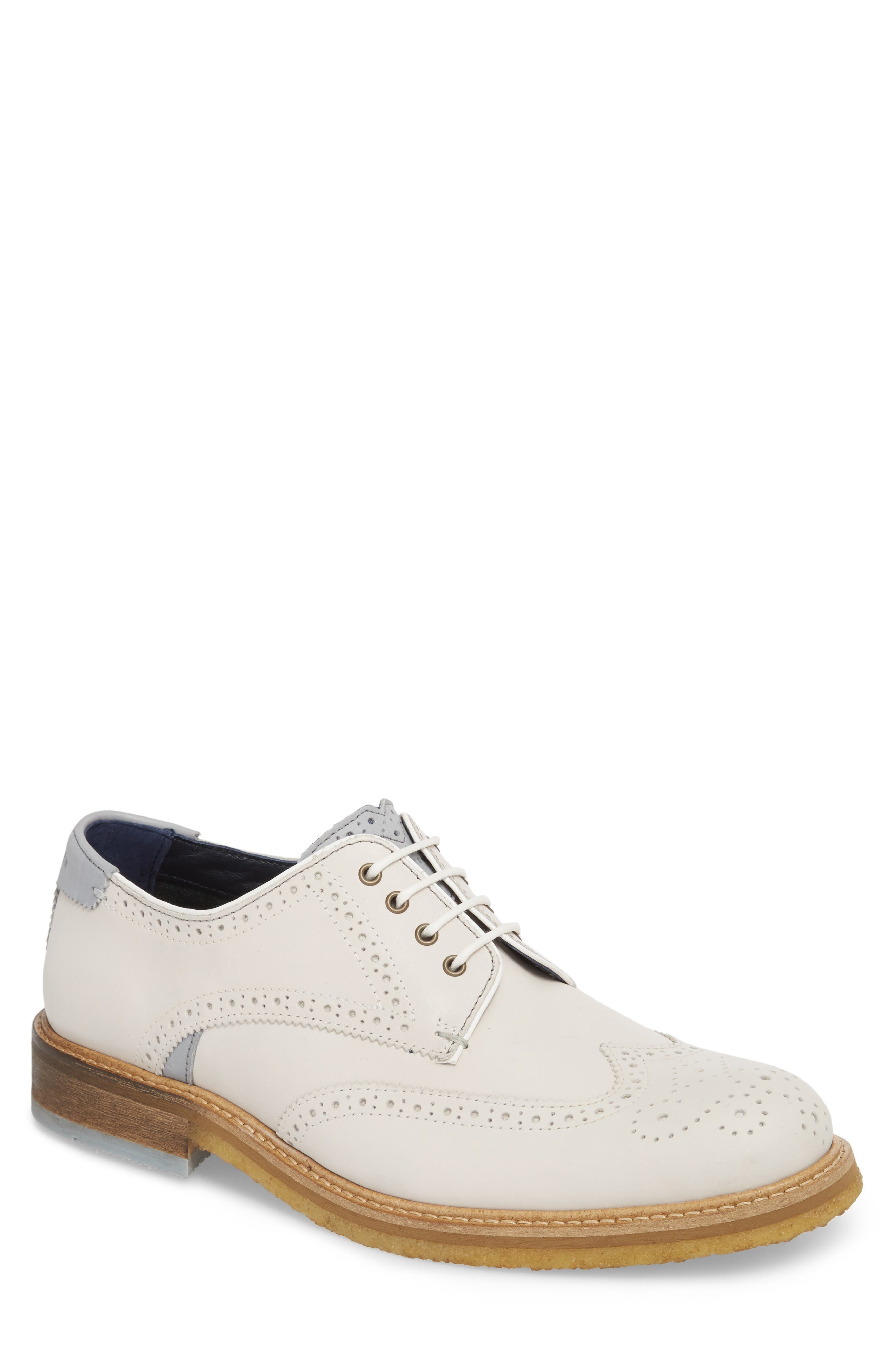 Prycce Wingtip Derby,                             Main thumbnail 1, color,                             White Suede