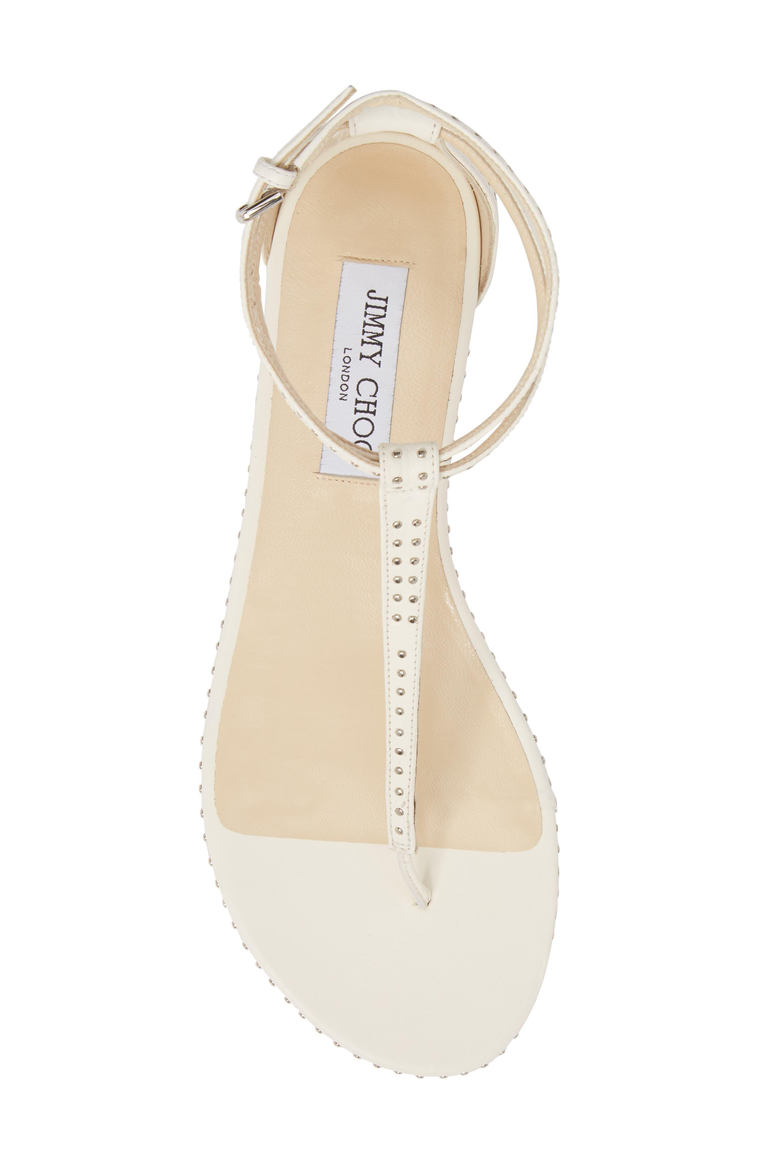 Afia Studded Flat Sandal,                             Alternate thumbnail 5, color,                             Chalk