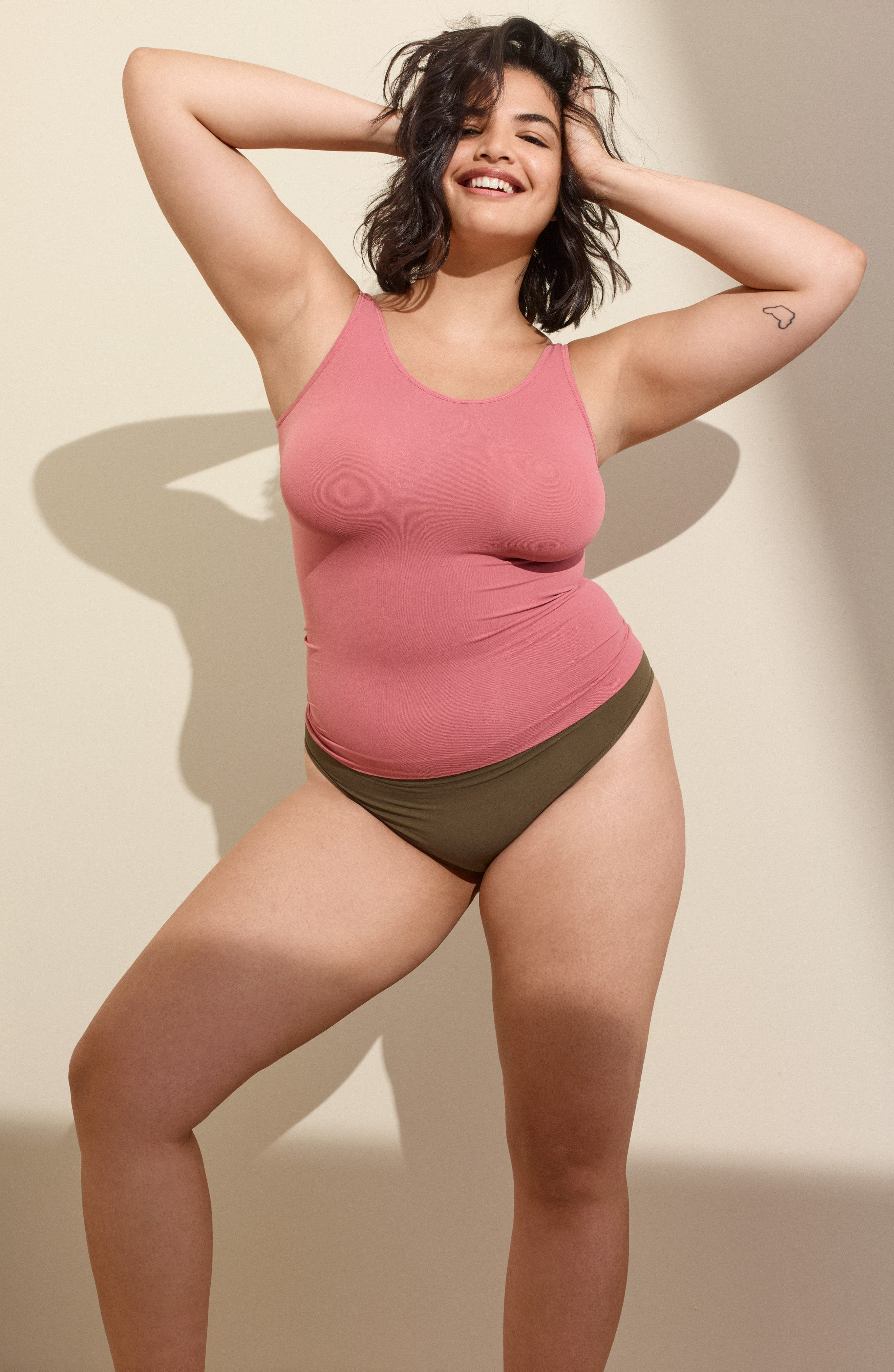 Alternate Image 7  - Halogen® Seamless Two-Way Tank (Plus Size) (2 for $49)