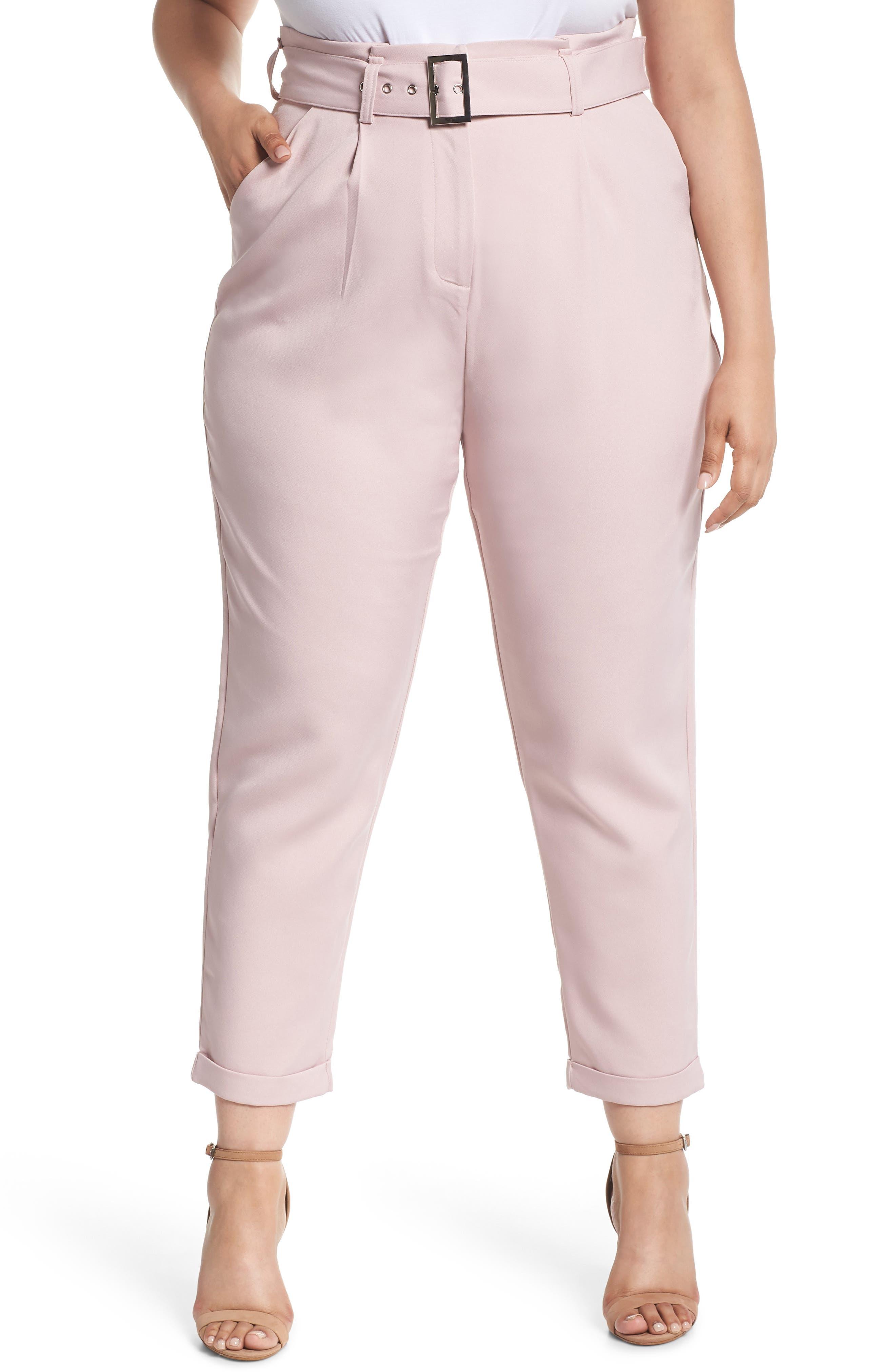 Belted Peg Trousers,                             Main thumbnail 1, color,                             Blush