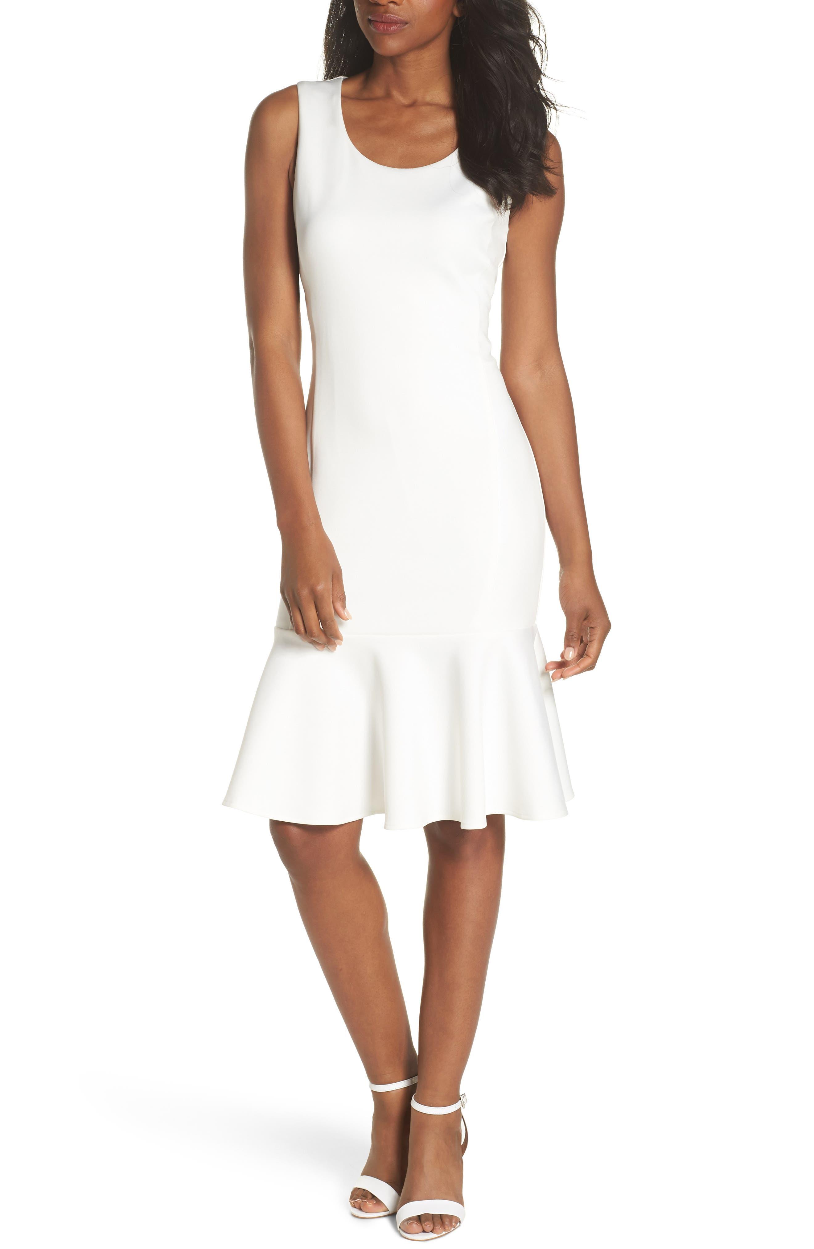 Sleeveless Flounce Hem Dress,                             Main thumbnail 1, color,                             Off White