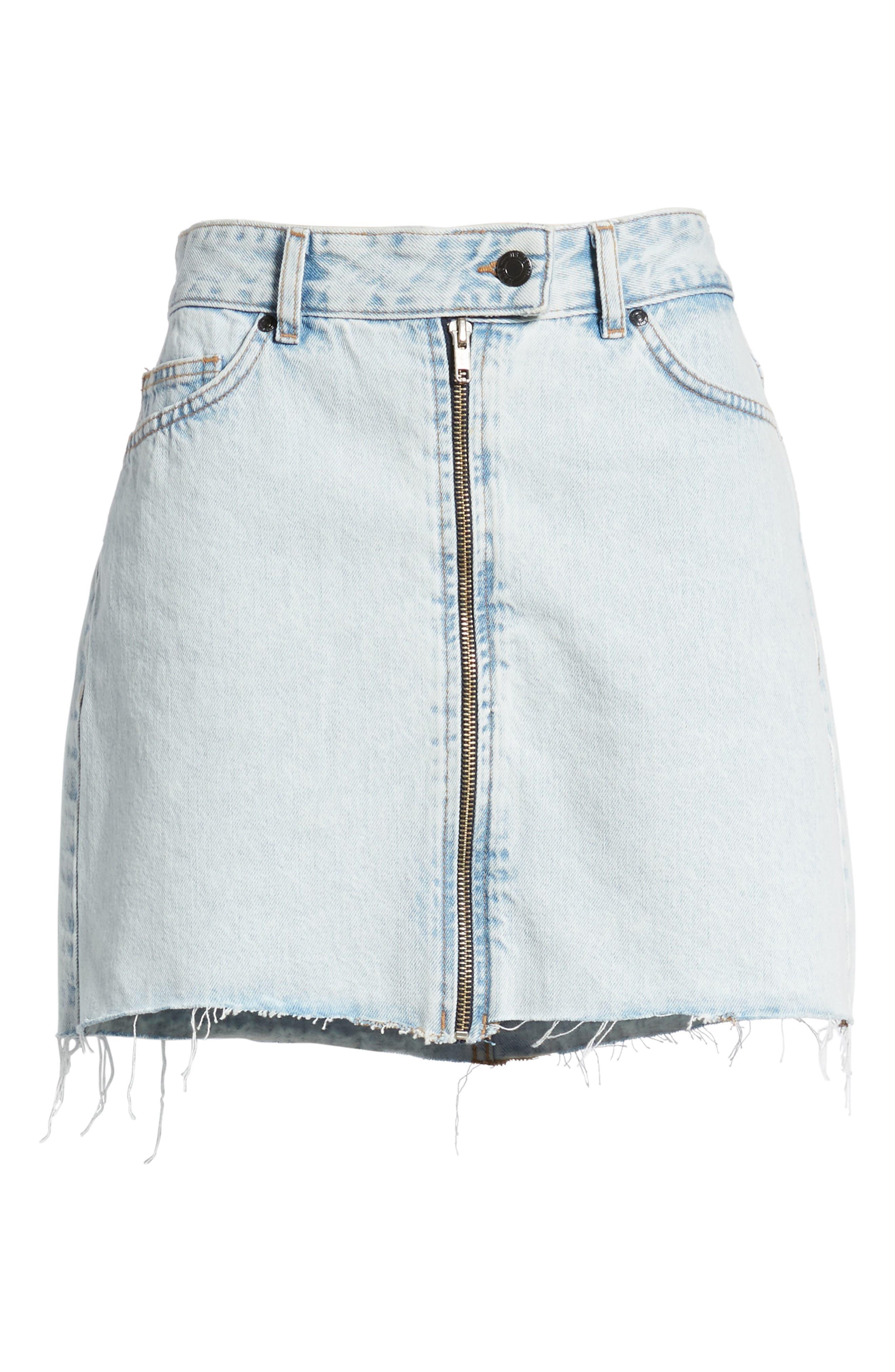 Dillon Denim Skirt,                             Alternate thumbnail 8, color,                             Worn Superlight Blue