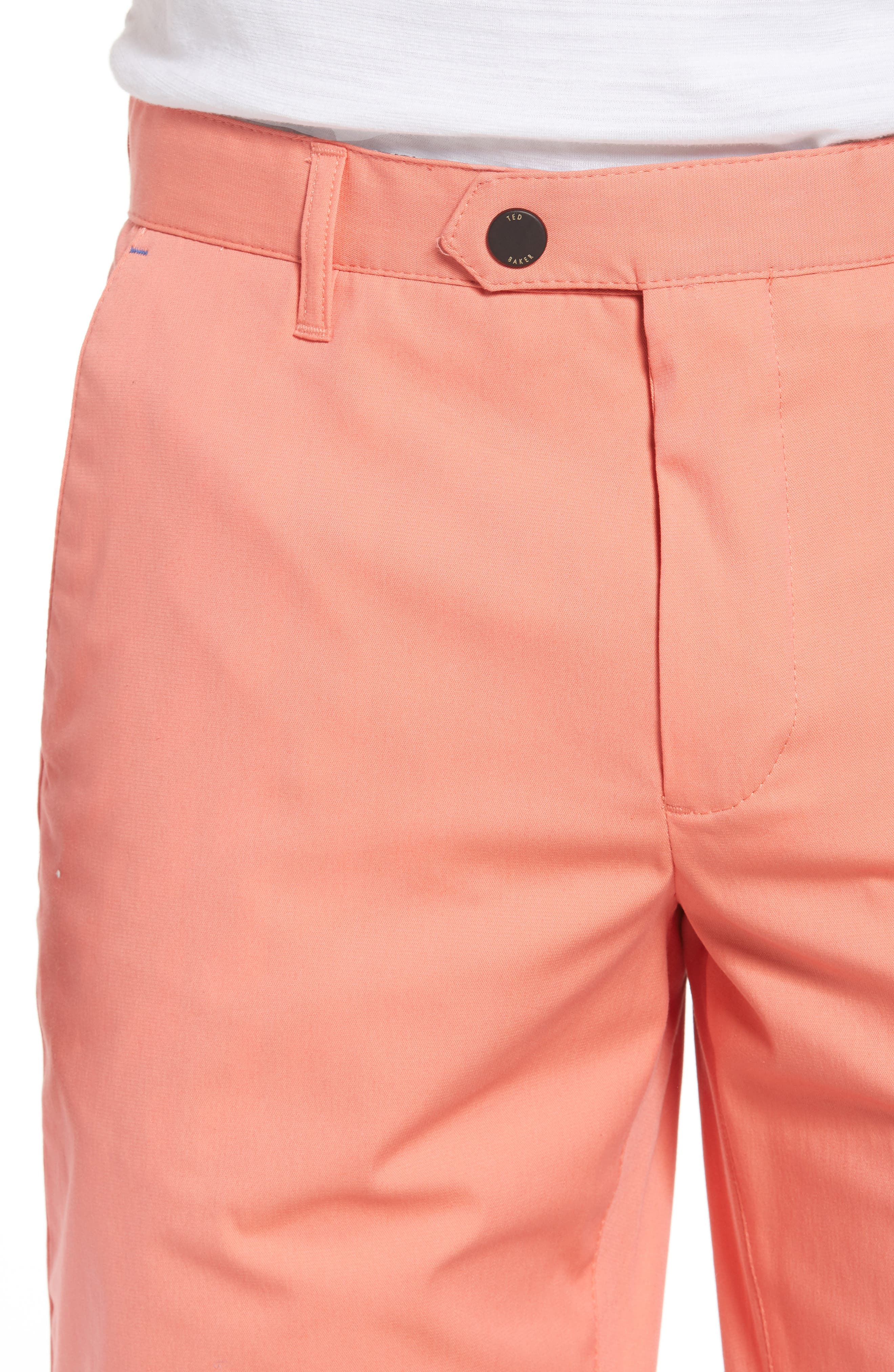Twopar Flat Front Shorts,                             Alternate thumbnail 4, color,                             Coral