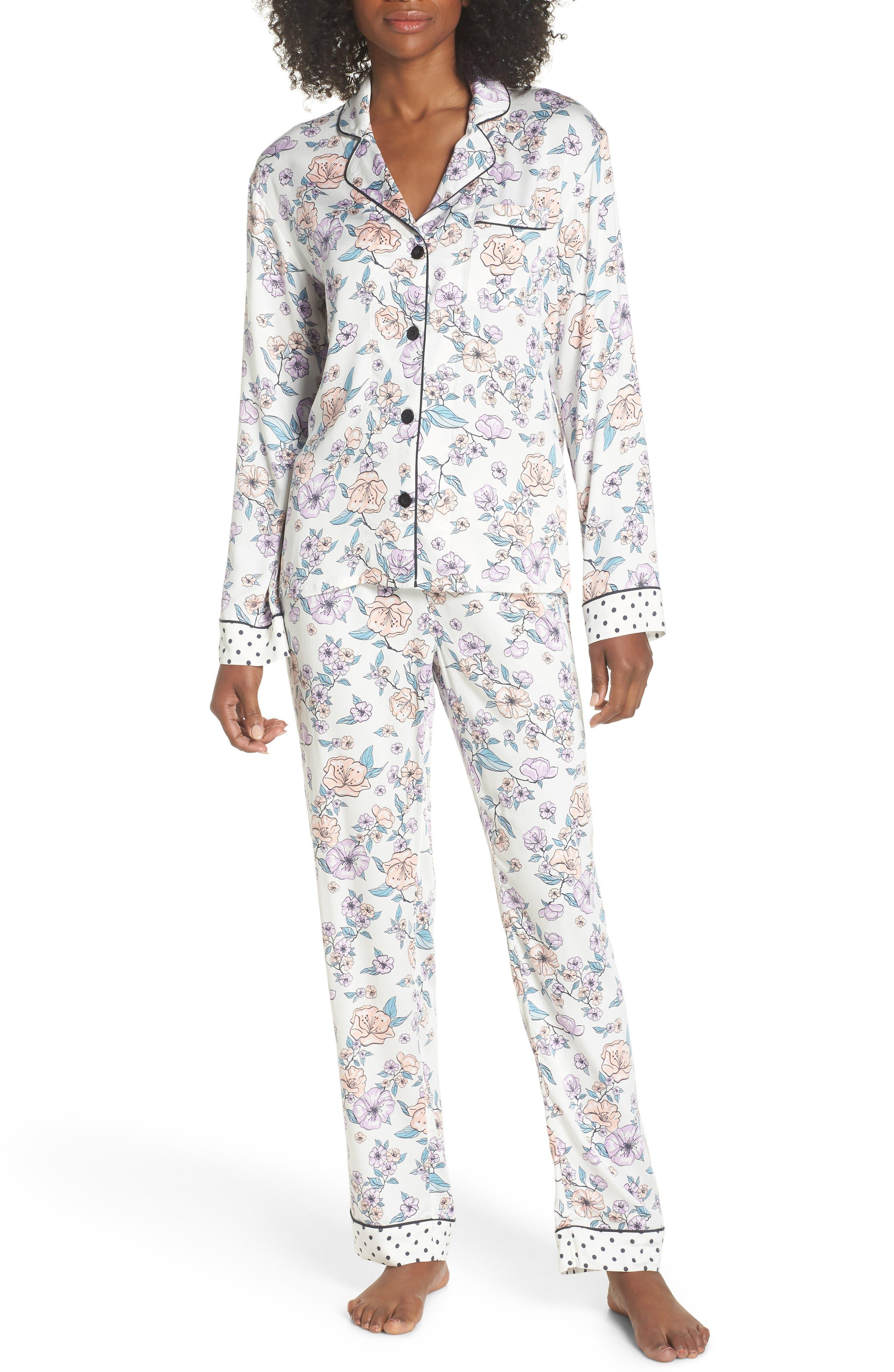 Floral Print Pajamas,                             Main thumbnail 1, color,                             Natural