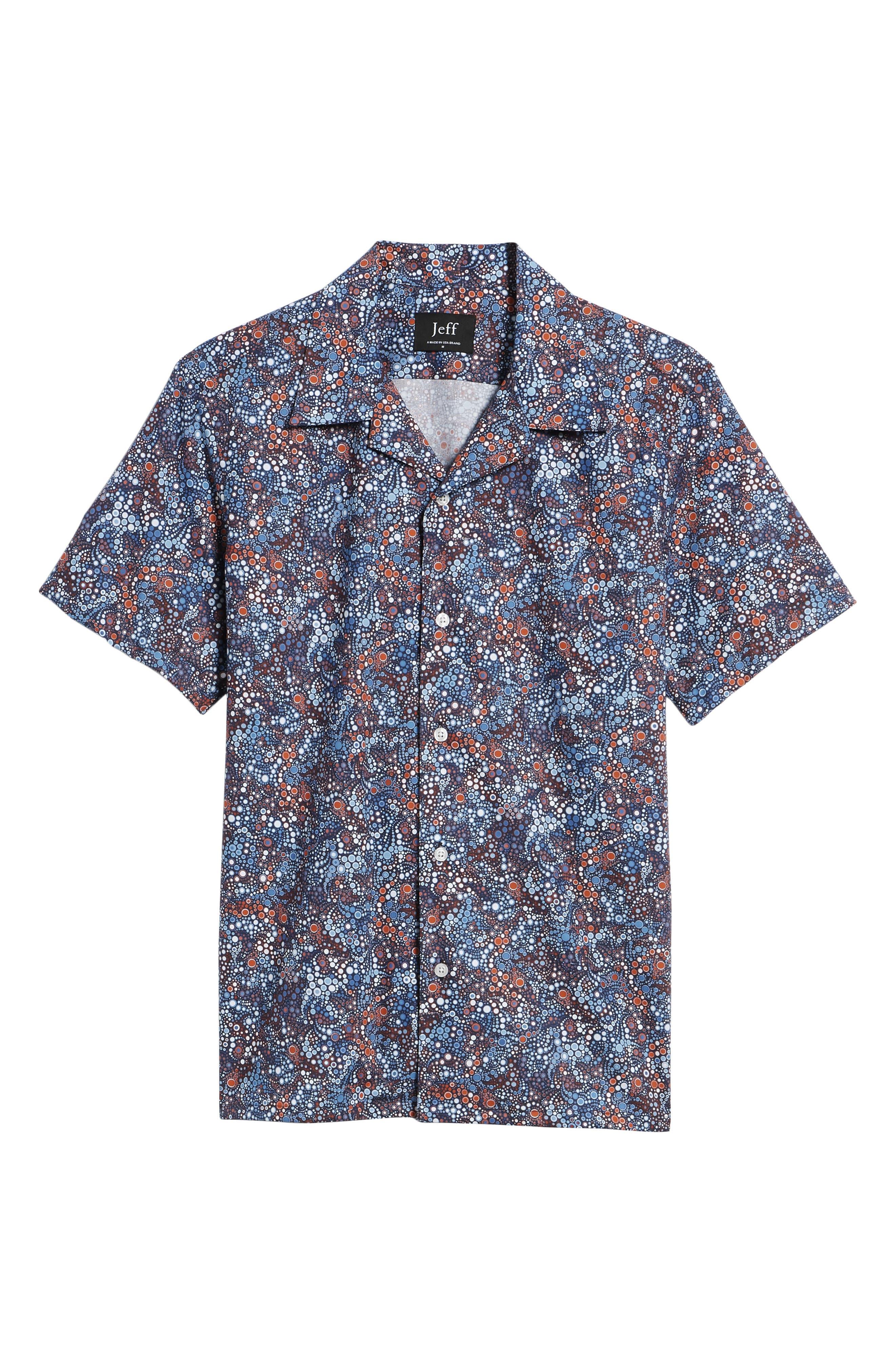 Sanibel Novelty Trim Fit Sport Shirt,                             Alternate thumbnail 6, color,                             Blue