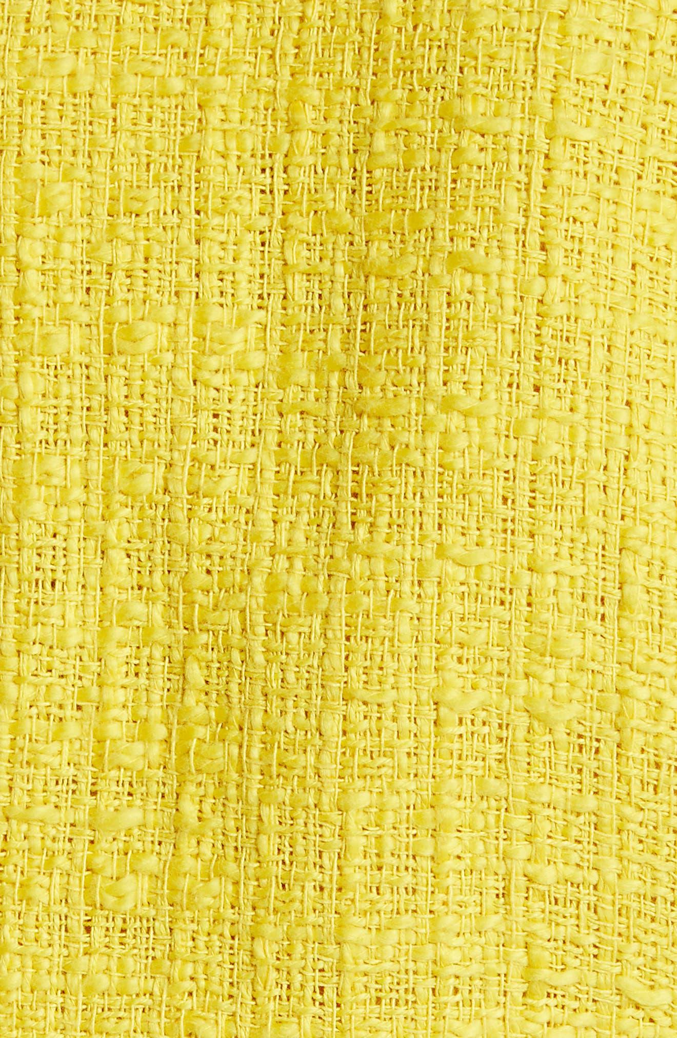 Tweed Moto Jacket,                             Alternate thumbnail 6, color,                             Yellow Maize