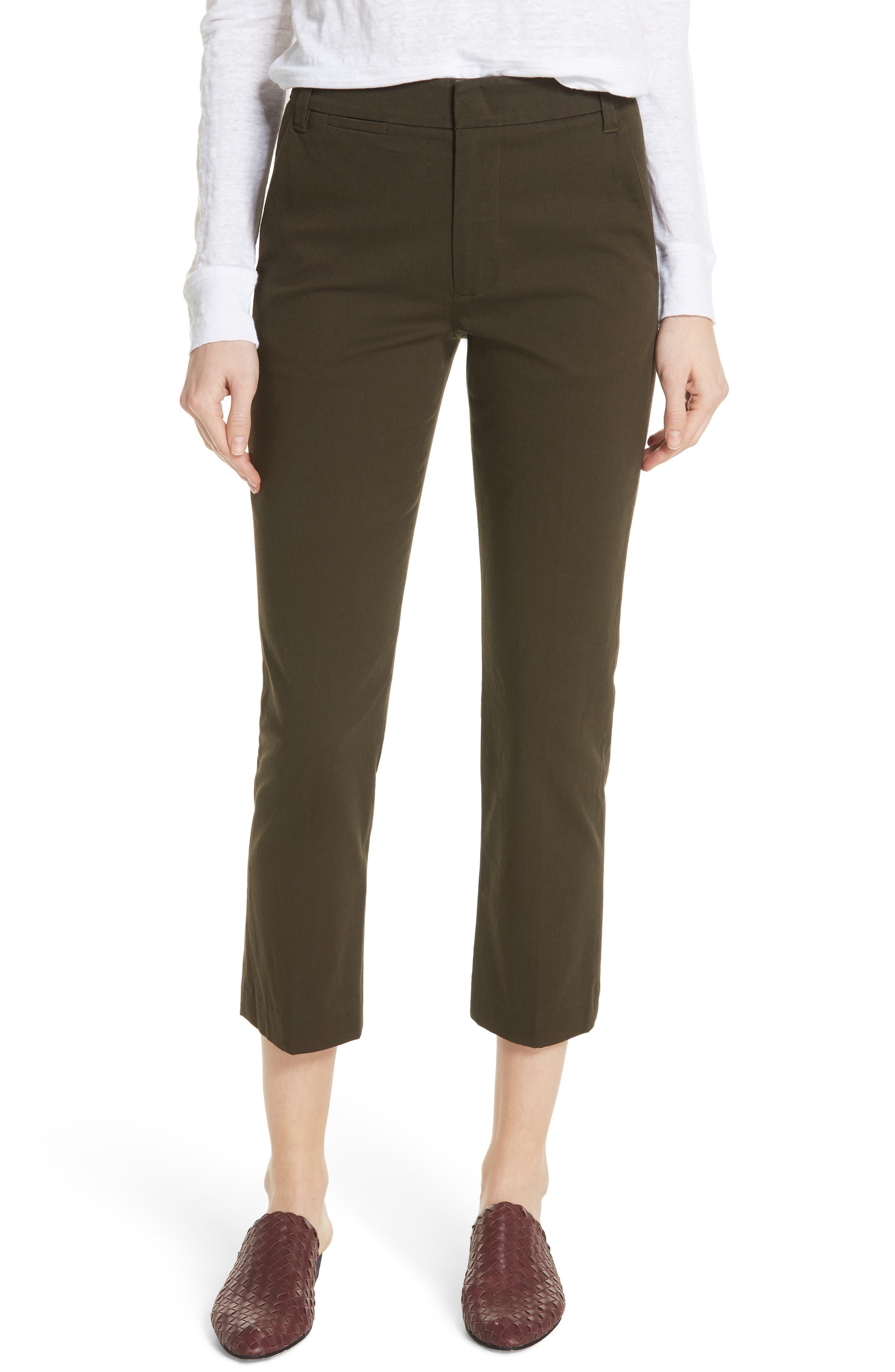 Crop Chino Pants,                         Main,                         color, Pinon Green