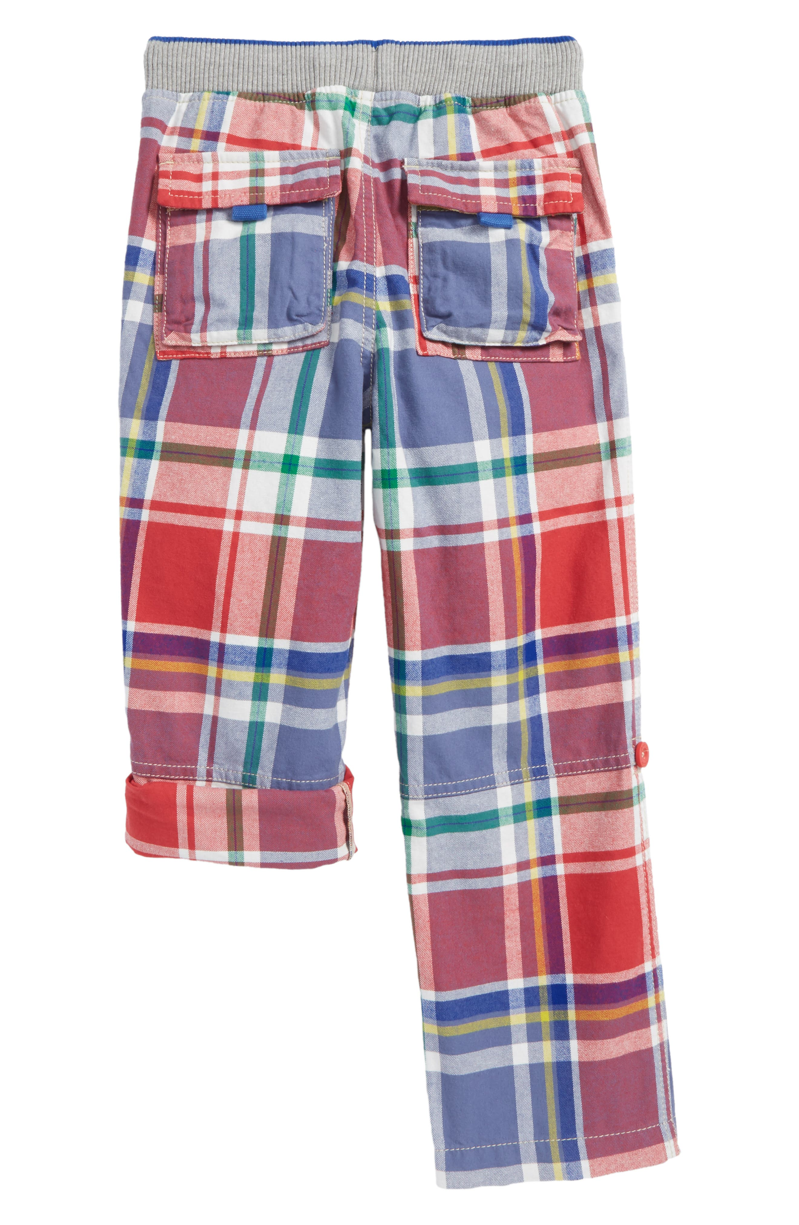 Plaid Roll-Up Pants,                             Alternate thumbnail 3, color,                             Washed Crimson Red/ Blue