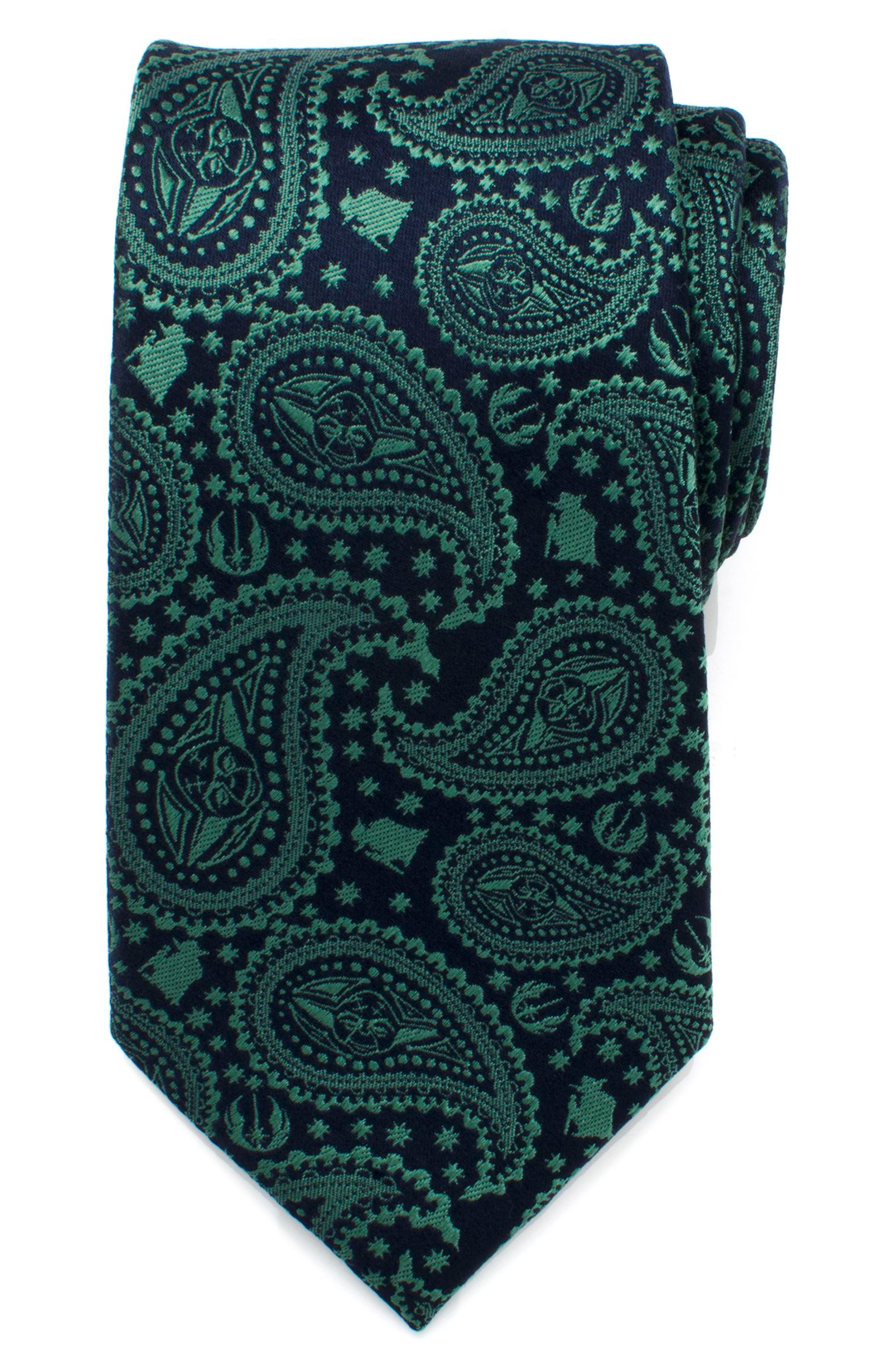 Yoda Paisley Silk Tie,                         Main,                         color, Green