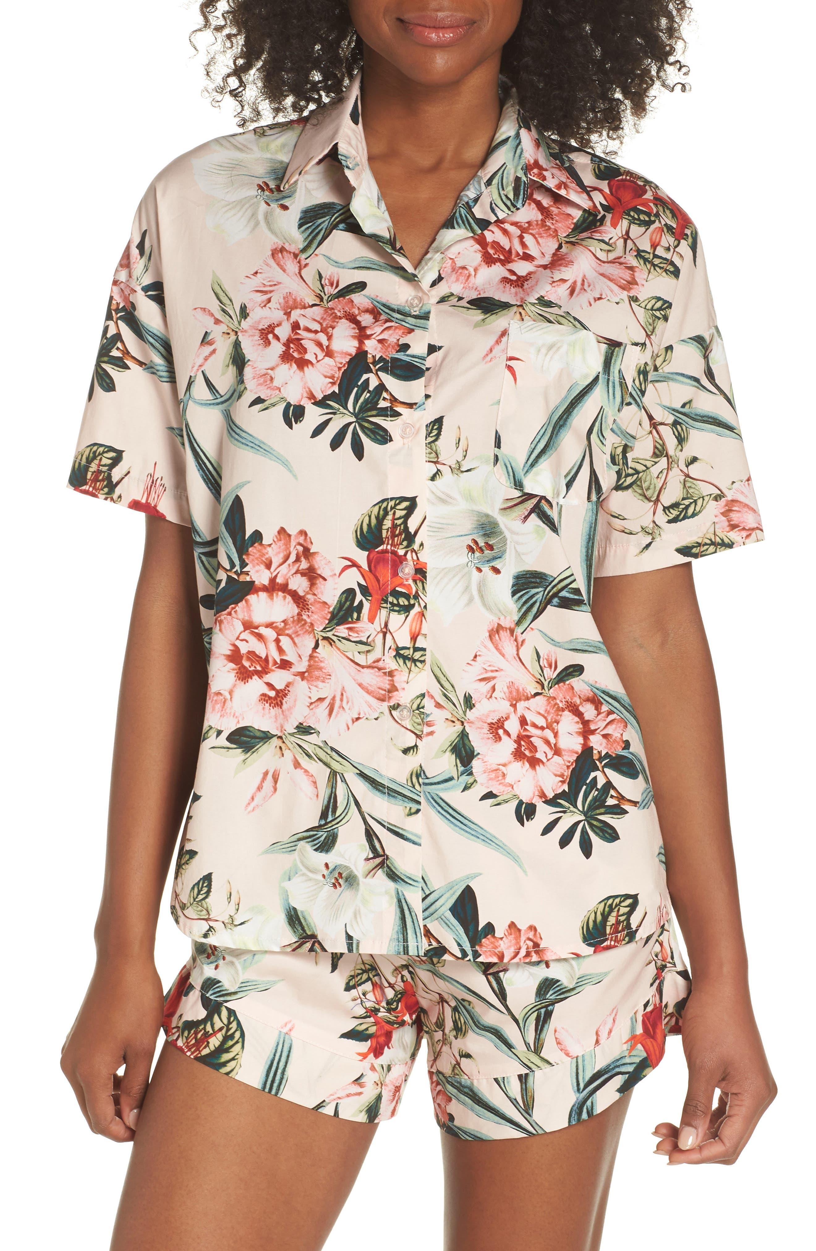 Gigi Stripe Pajama Top,                         Main,                         color, Lt. Pink Floral