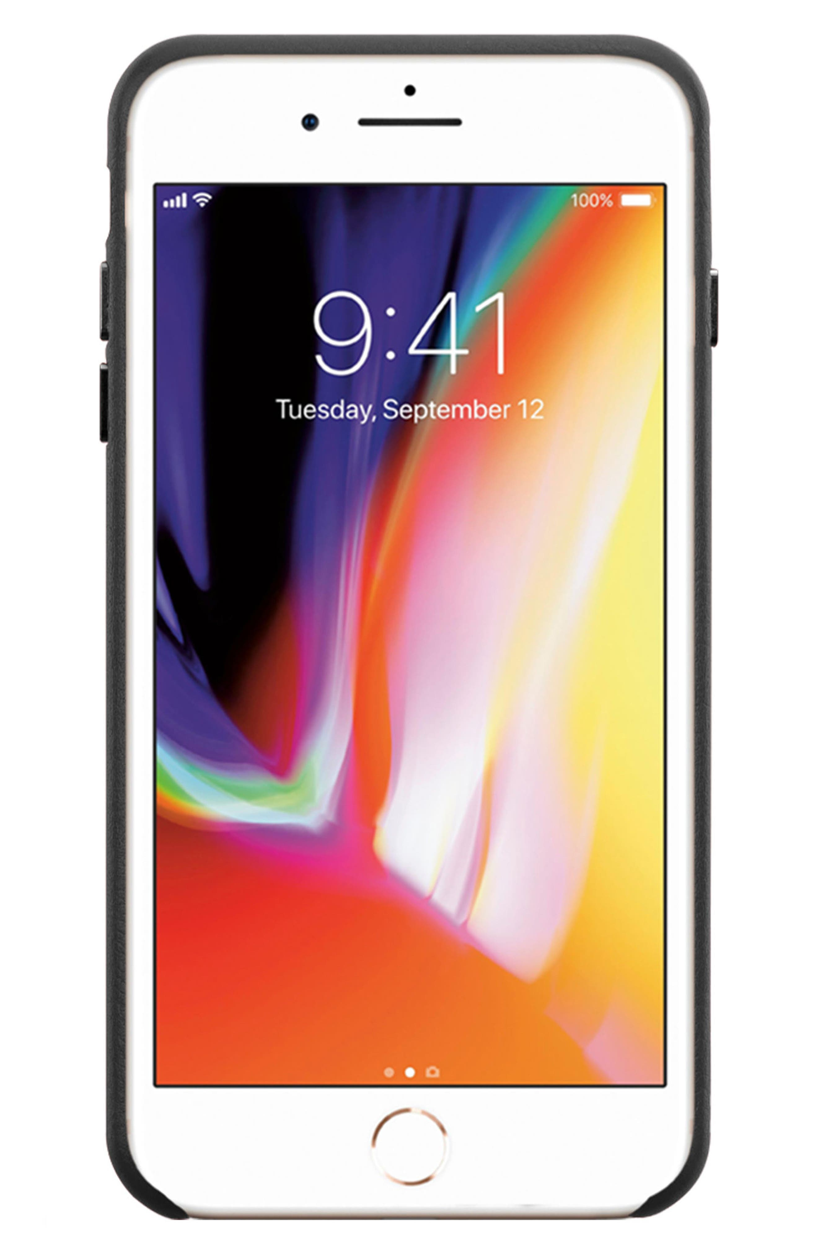 x Clare V. Stripe Leather iPhone X Case,                             Alternate thumbnail 2, color,                             Black Multi
