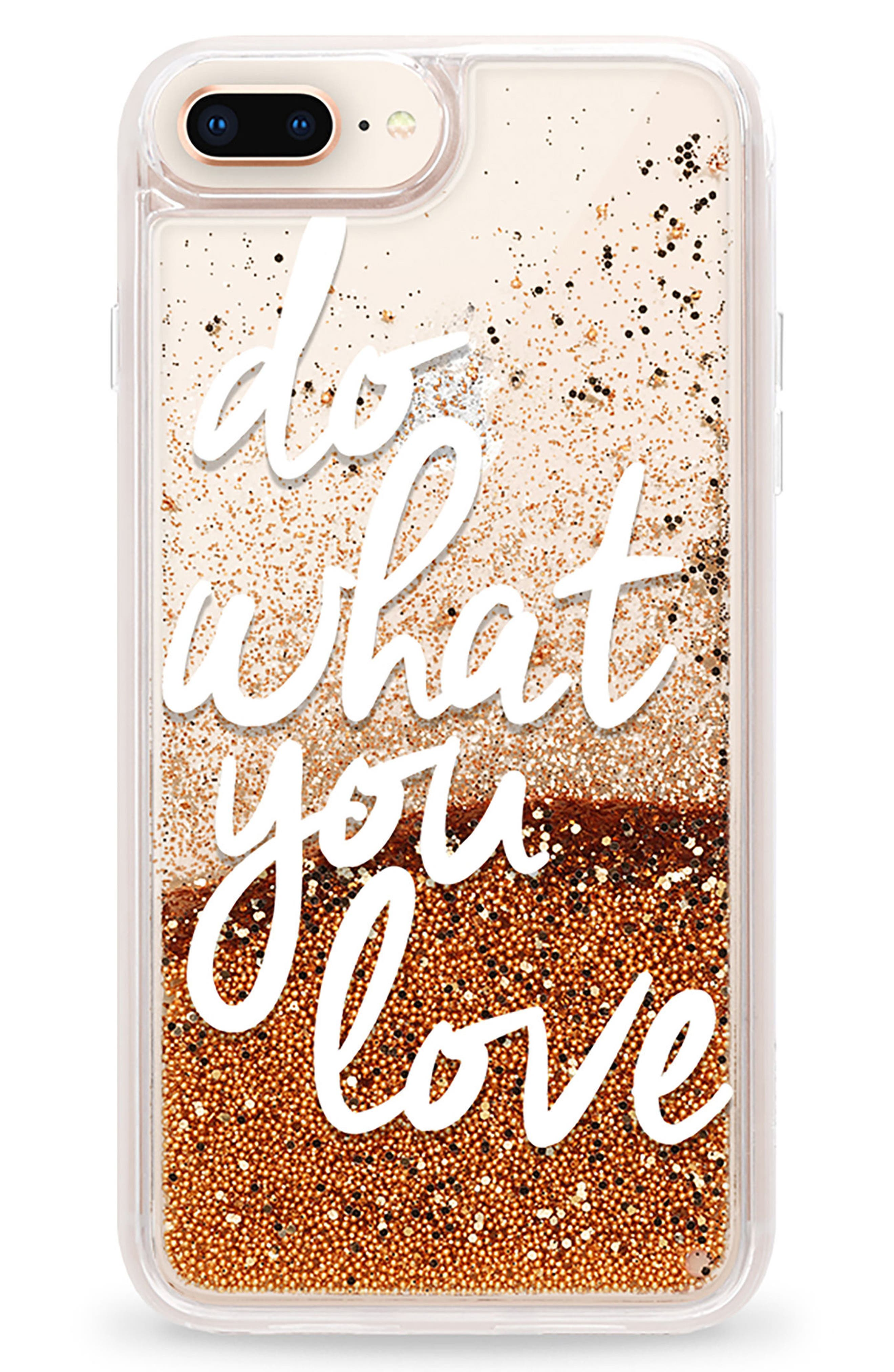 Do What You Love iPhone 7/8 & 7/8 Plus Case,                             Main thumbnail 1, color,                             White And Gold