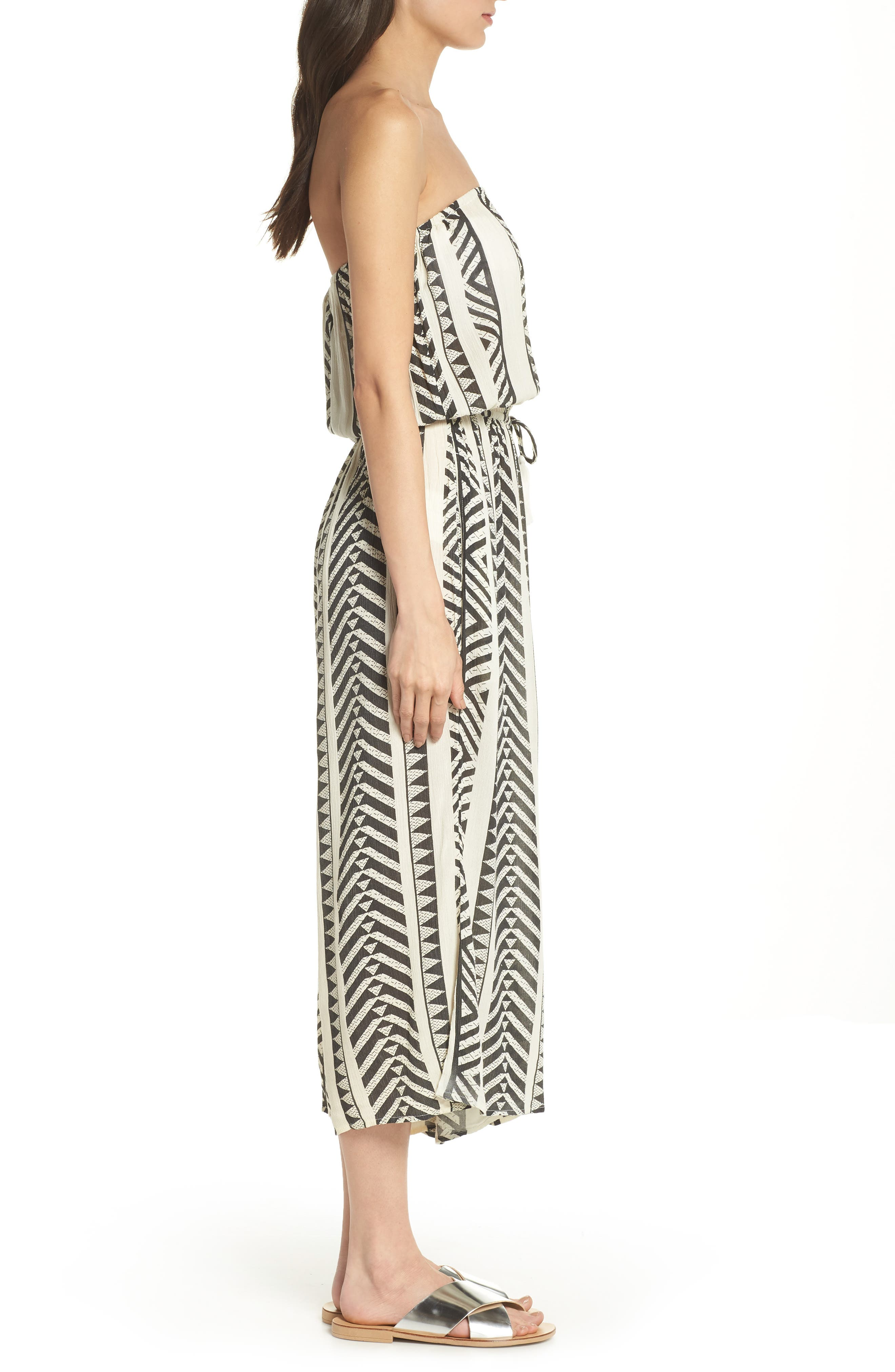 Strapless Cover-Up Jumpsuit,                             Alternate thumbnail 3, color,                             Black Tribal