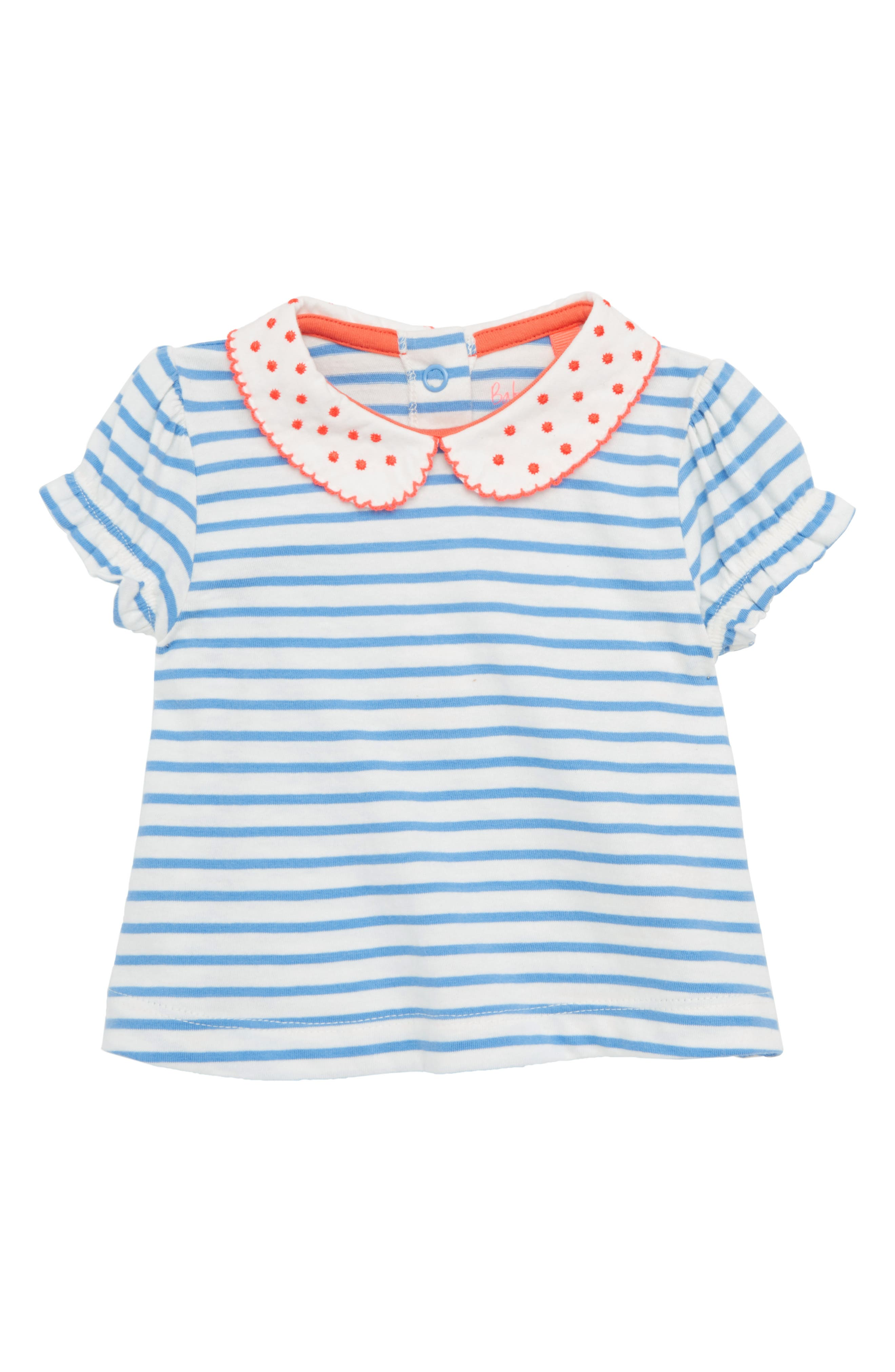 Peter Pan Collar Tee,                         Main,                         color, Ivory/ Lake Blue