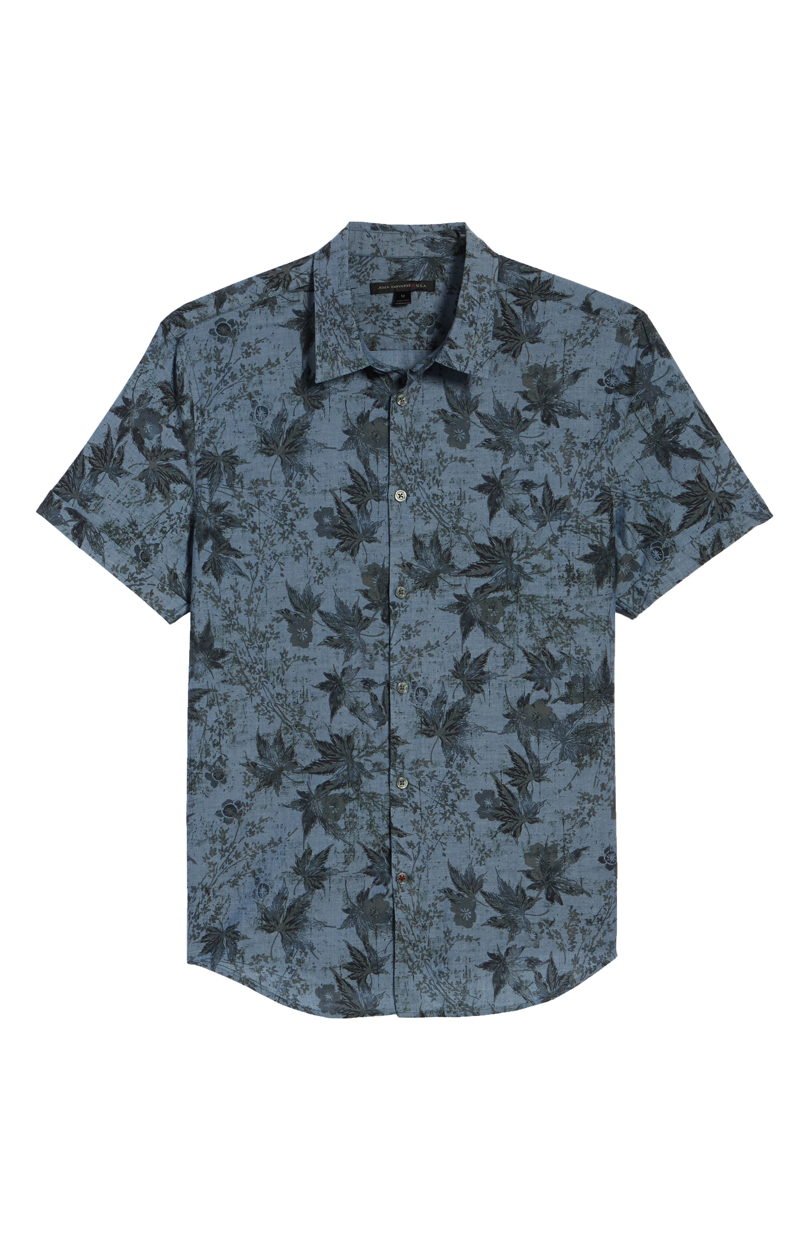 Regular Fit Print Short Sleeve Sport Shirt,                             Alternate thumbnail 6, color,                             Indigo