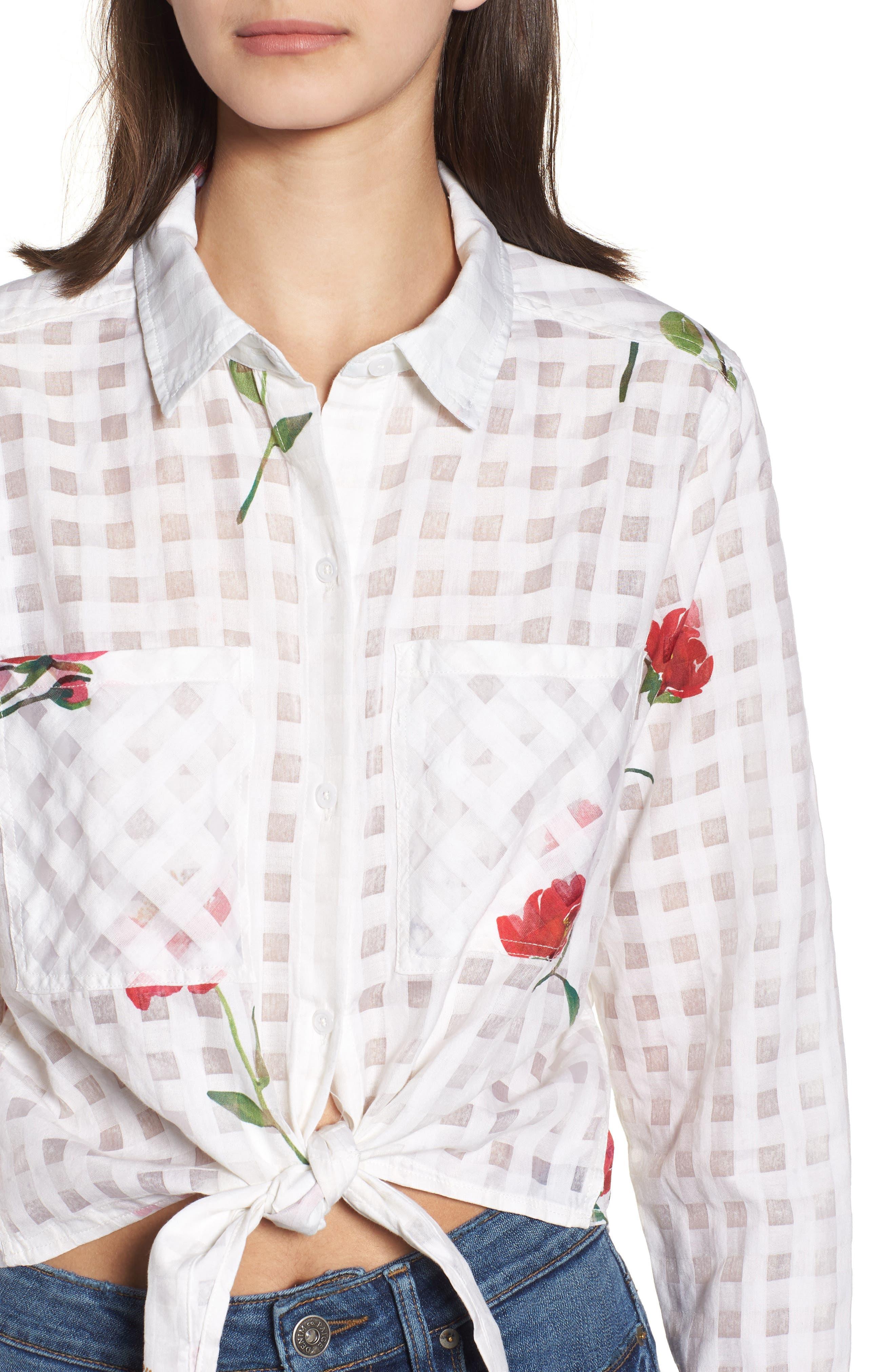 Kelsey Tie Front Shirt,                             Alternate thumbnail 4, color,                             Floral Powder Check