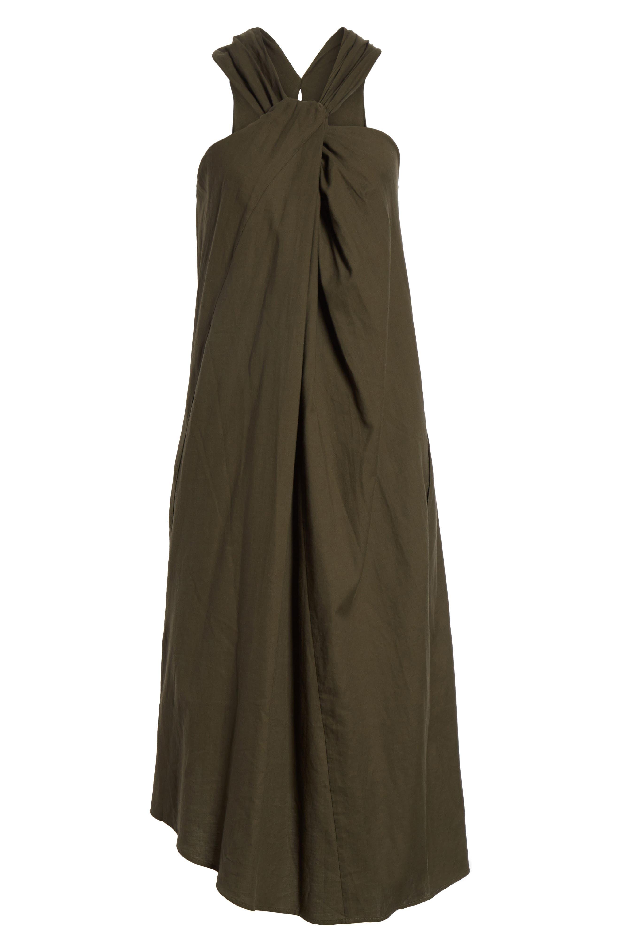 Twist Front Dress,                             Alternate thumbnail 6, color,                             Pinon Green