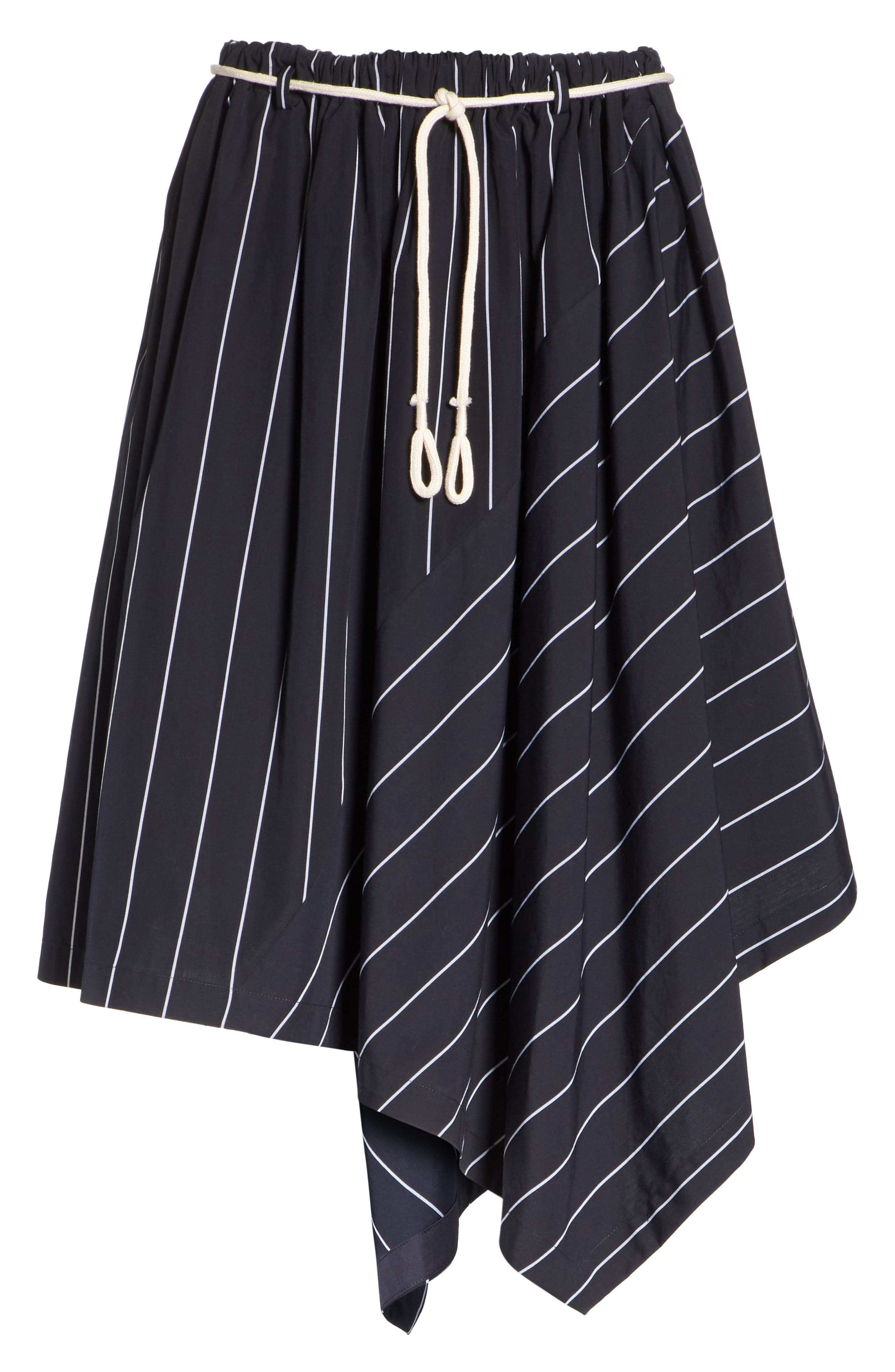 Skinny Stripe Asymmetrical Cotton Skirt,                             Alternate thumbnail 6, color,                             Coastal/ Optic White