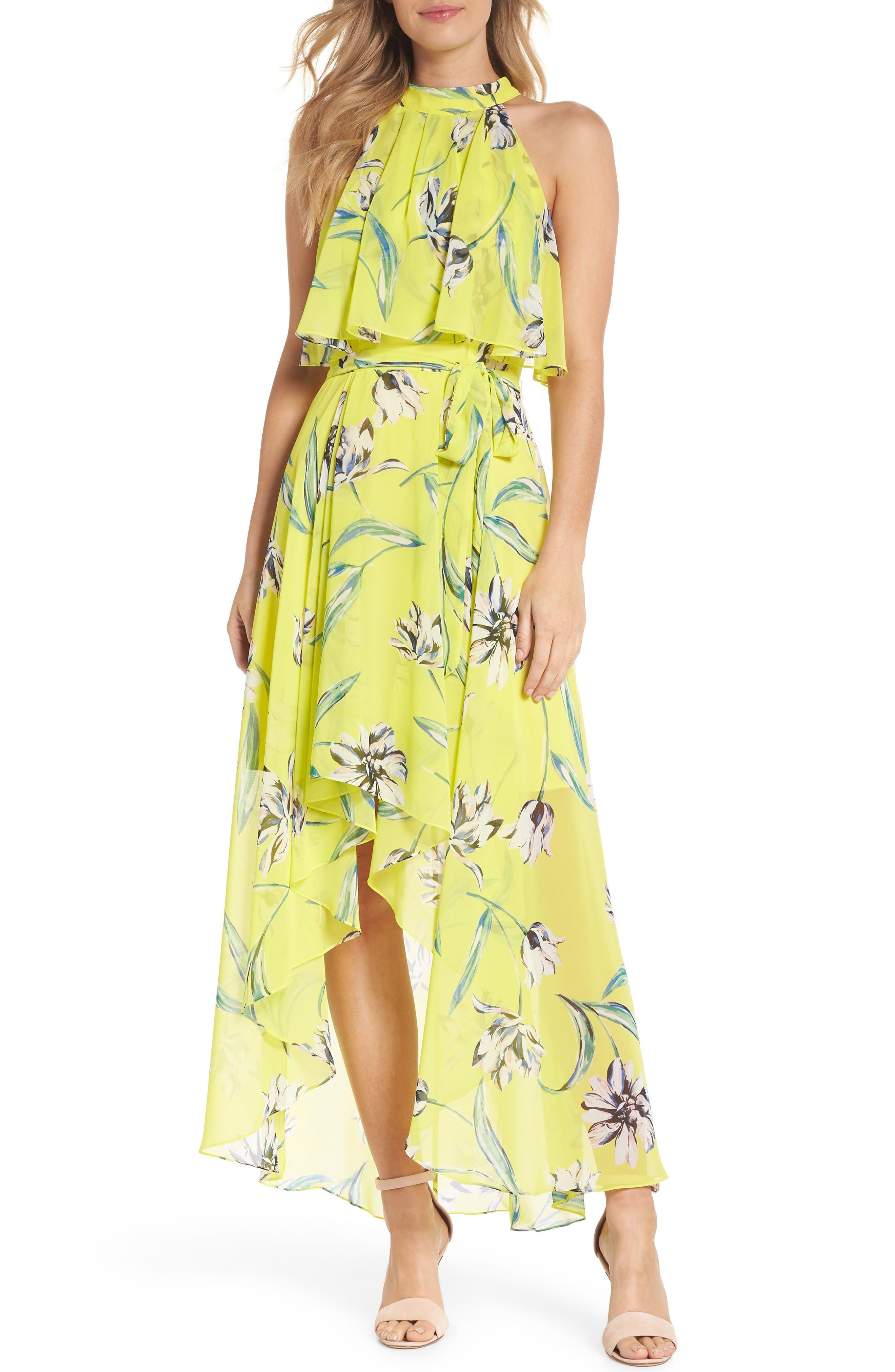 Halter Neck Chiffon Maxi Dress,                         Main,                         color, Yellow