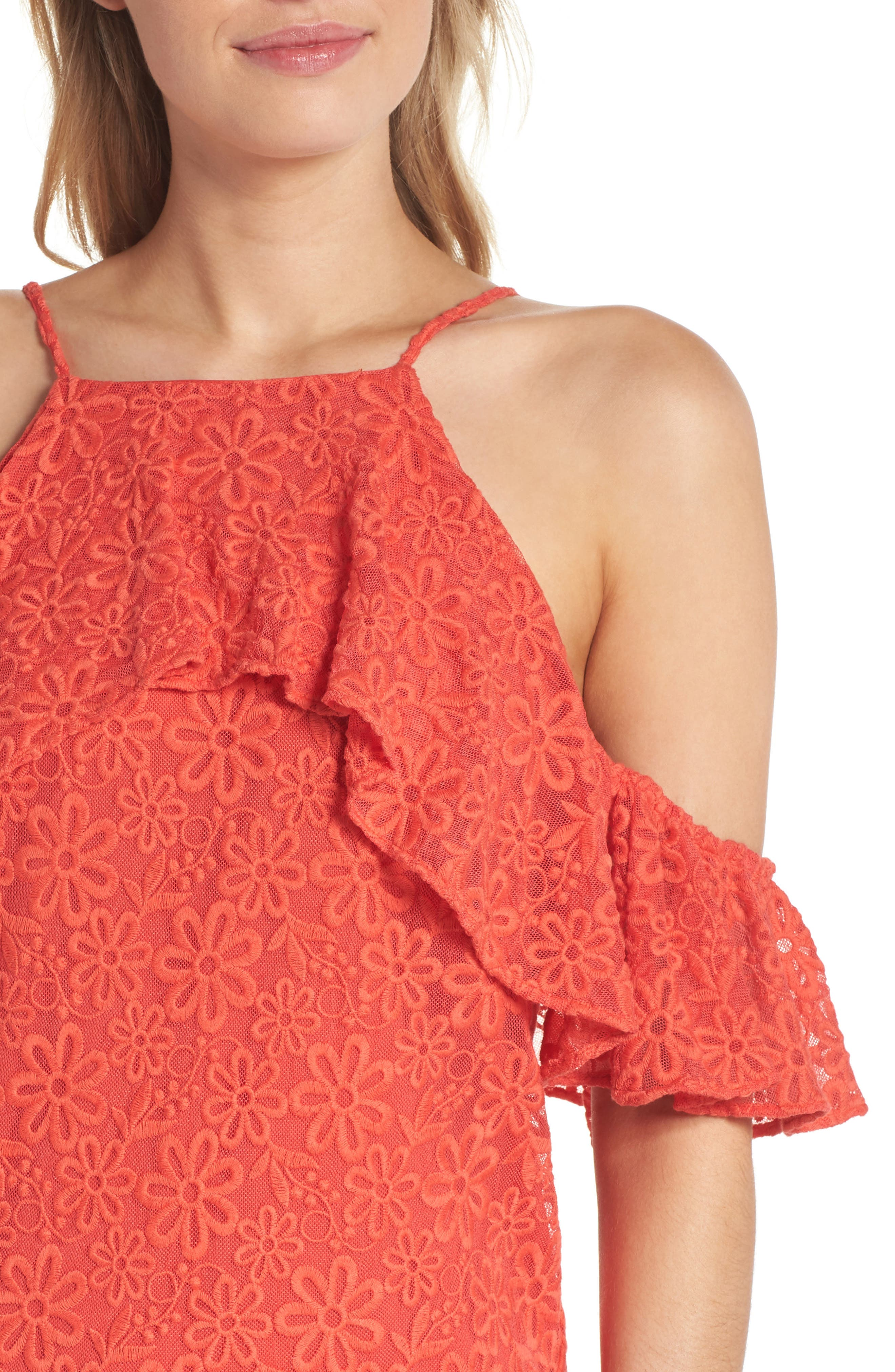 Roseville Cold Shoulder Embroidered Tulle Halter Dress,                             Alternate thumbnail 4, color,                             Lady Bug