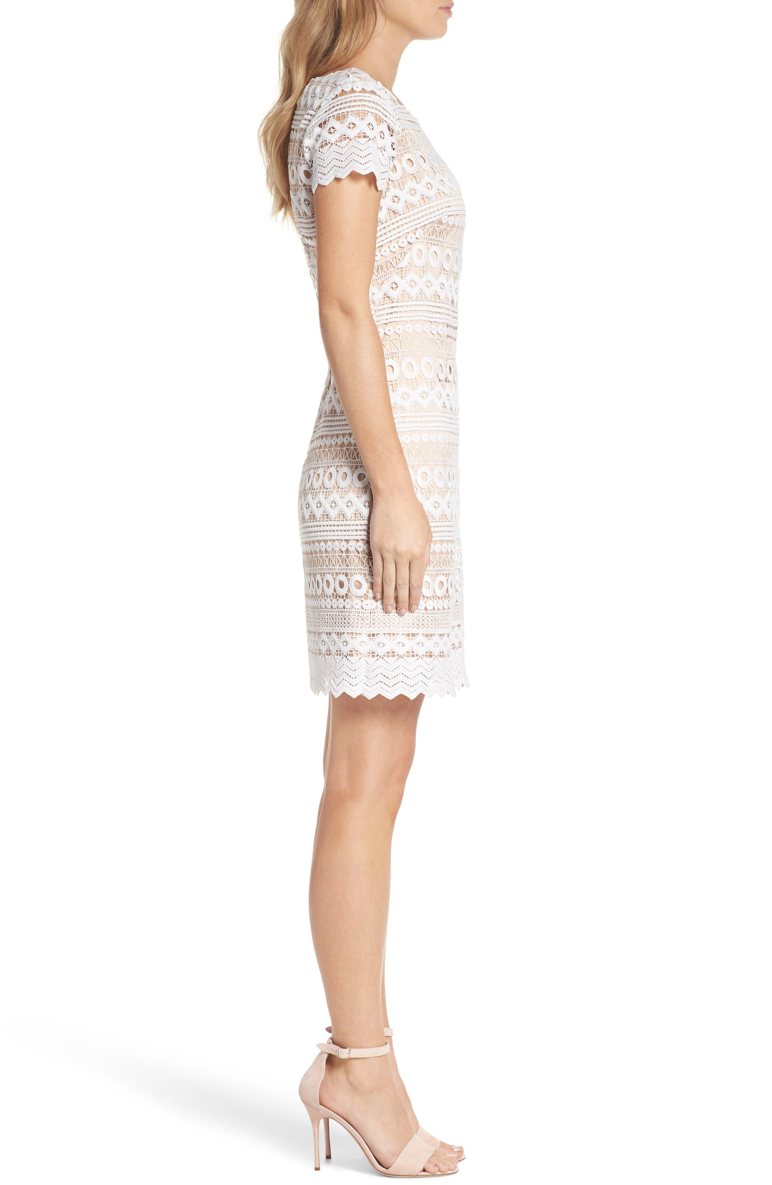 Geo Lace Sheath Dress,                             Alternate thumbnail 3, color,                             Ivory