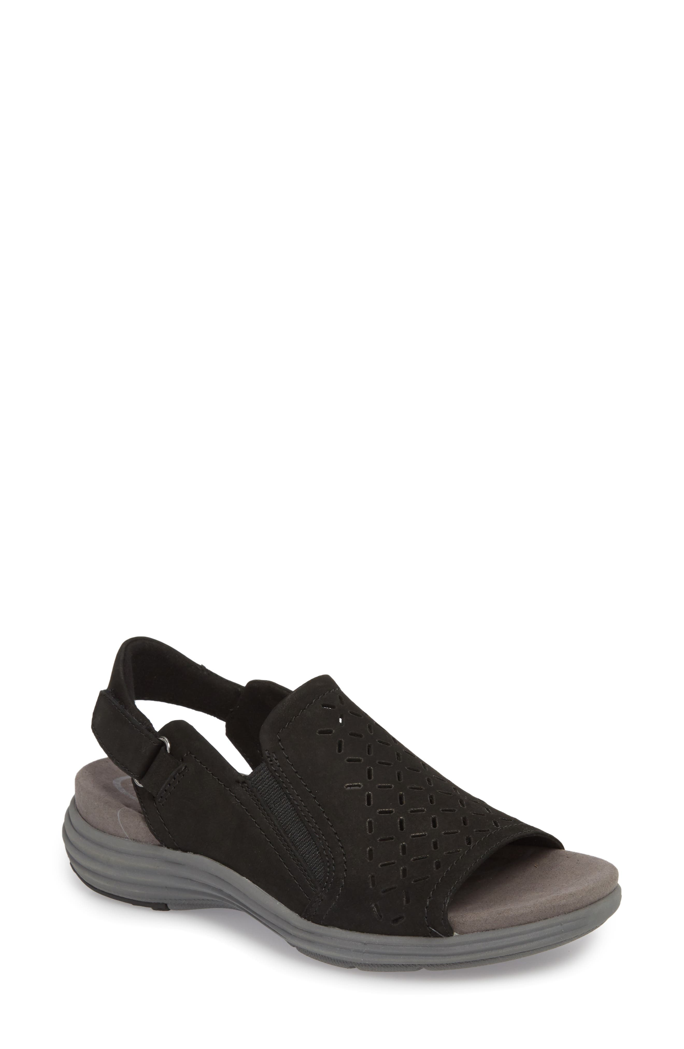 Beaumont Slingback Sandal,                         Main,                         color, Black Nubuck Leather