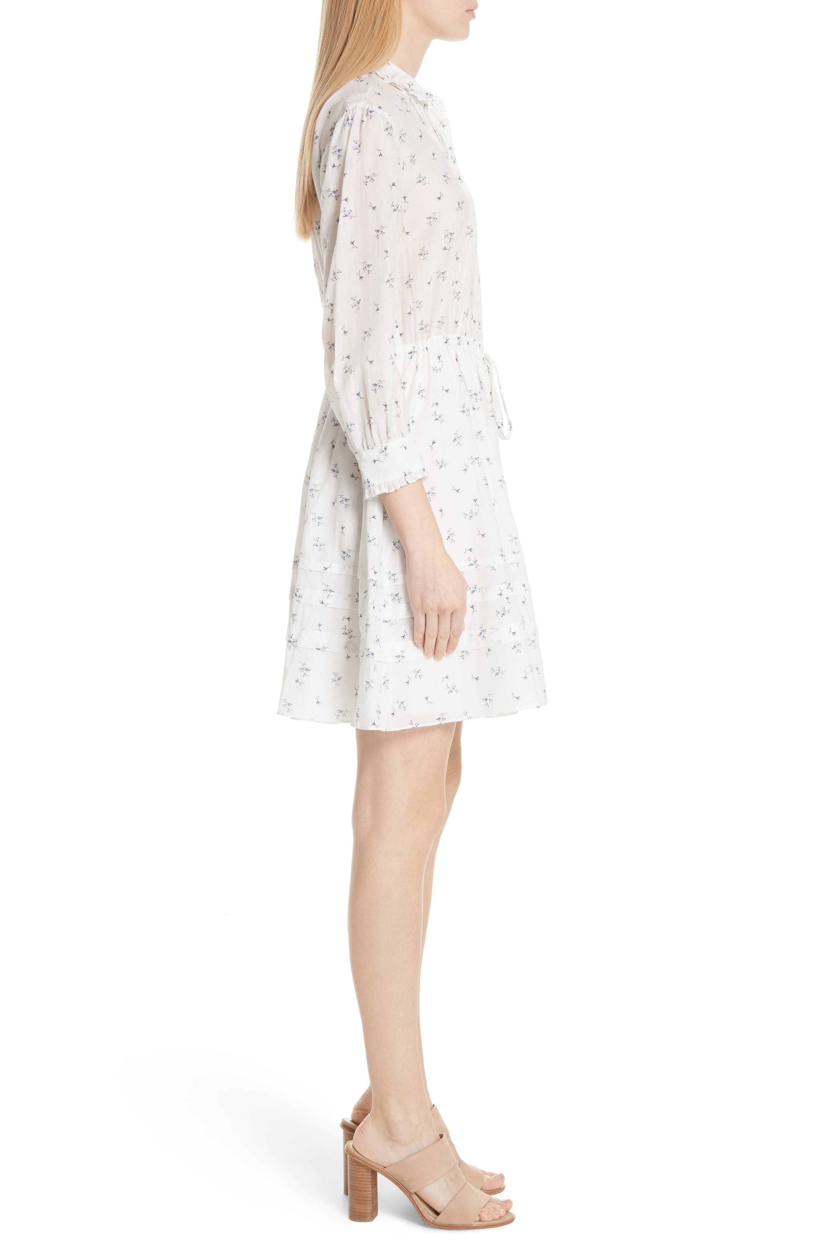 Floral Sprig Shirtdress,                             Alternate thumbnail 3, color,                             Snow Combo