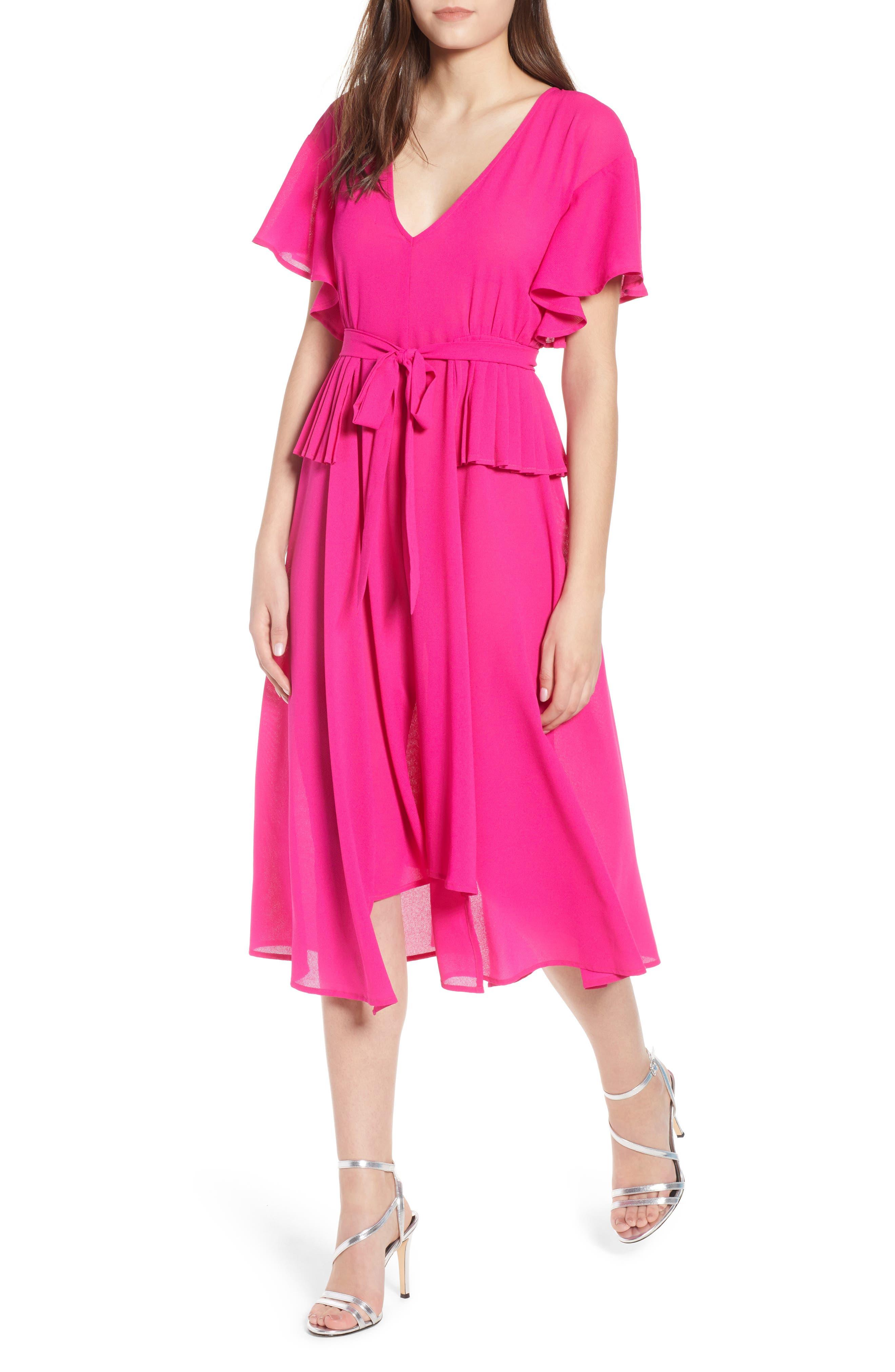 Chiffon Midi Dress,                         Main,                         color, Fuchsia