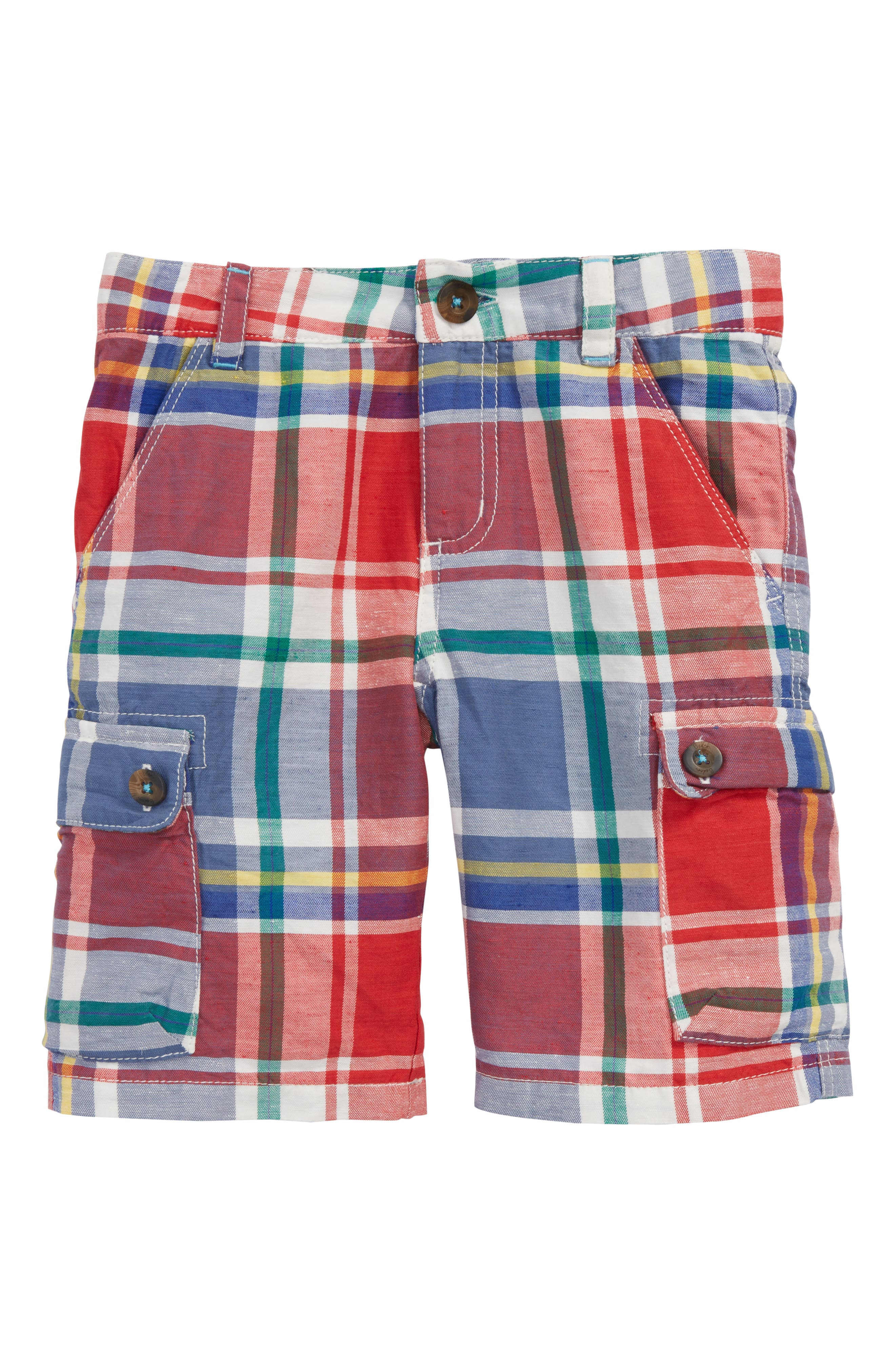 Plaid Cargo Shorts,                             Main thumbnail 1, color,                             Washed Crimson Red/ Blue
