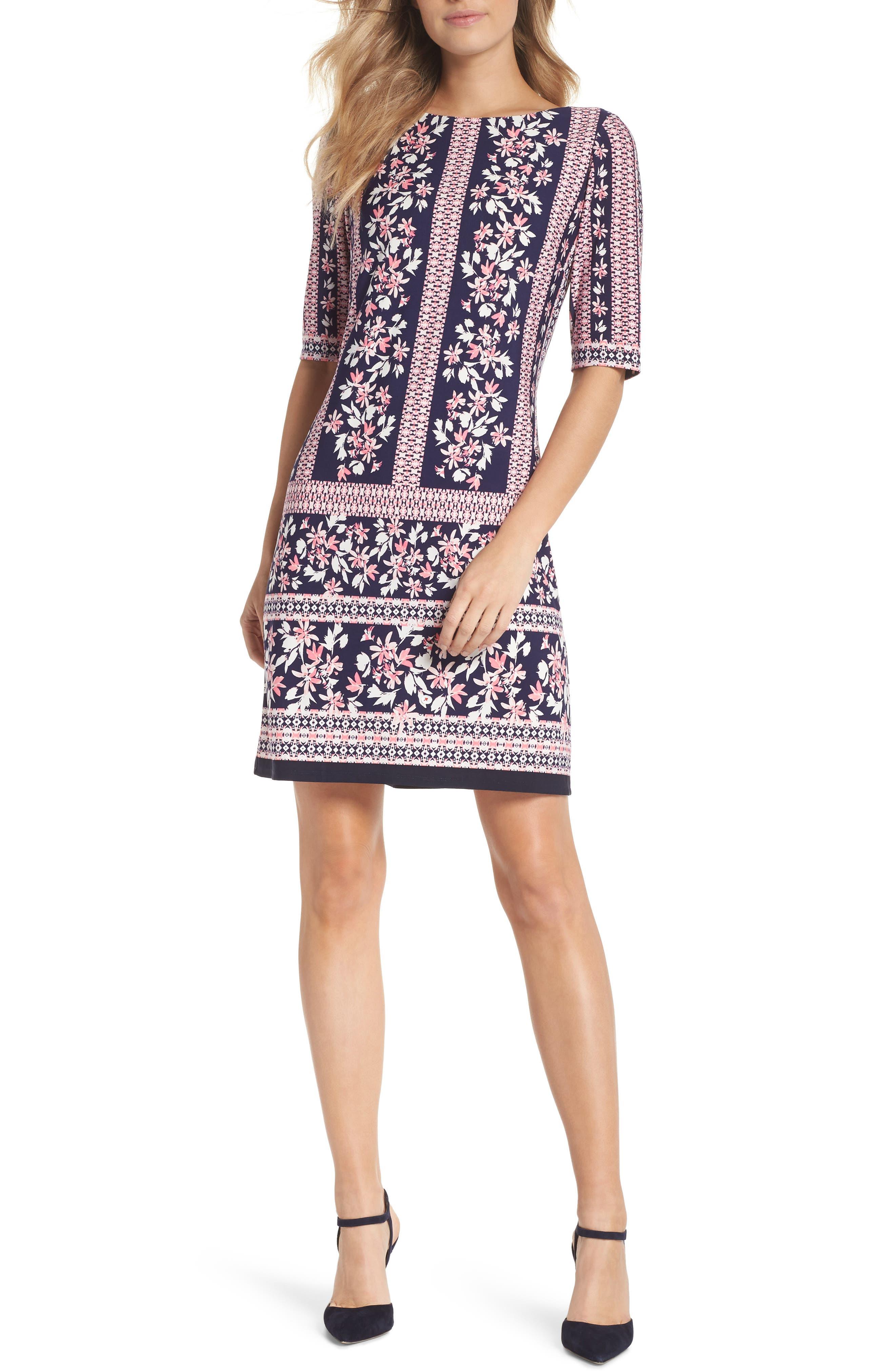 Eliza J Floral Stripe Shift Dress (Regular & Petite)