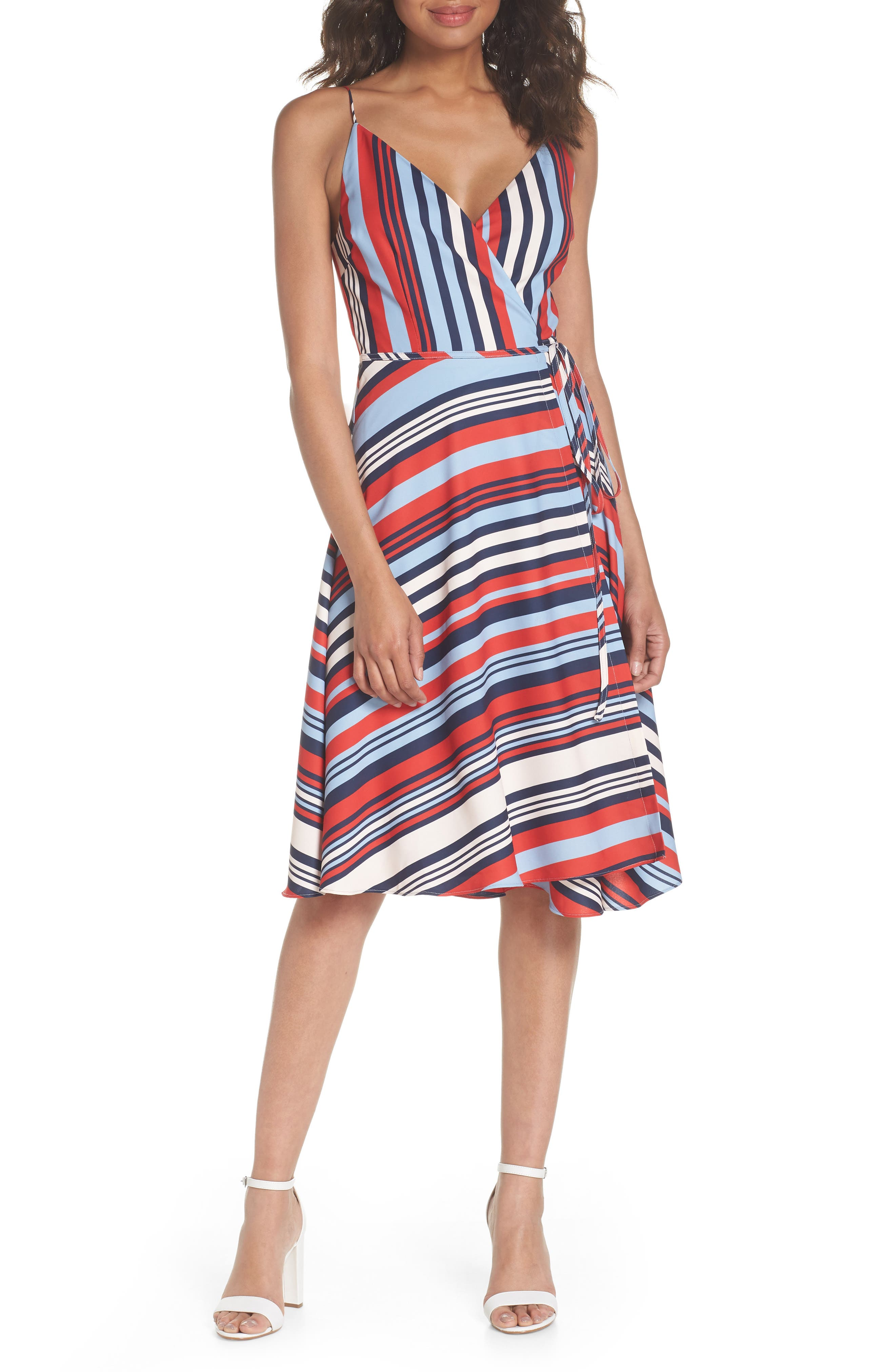 Milan Stripe Wrap Dress,                         Main,                         color, Stripe