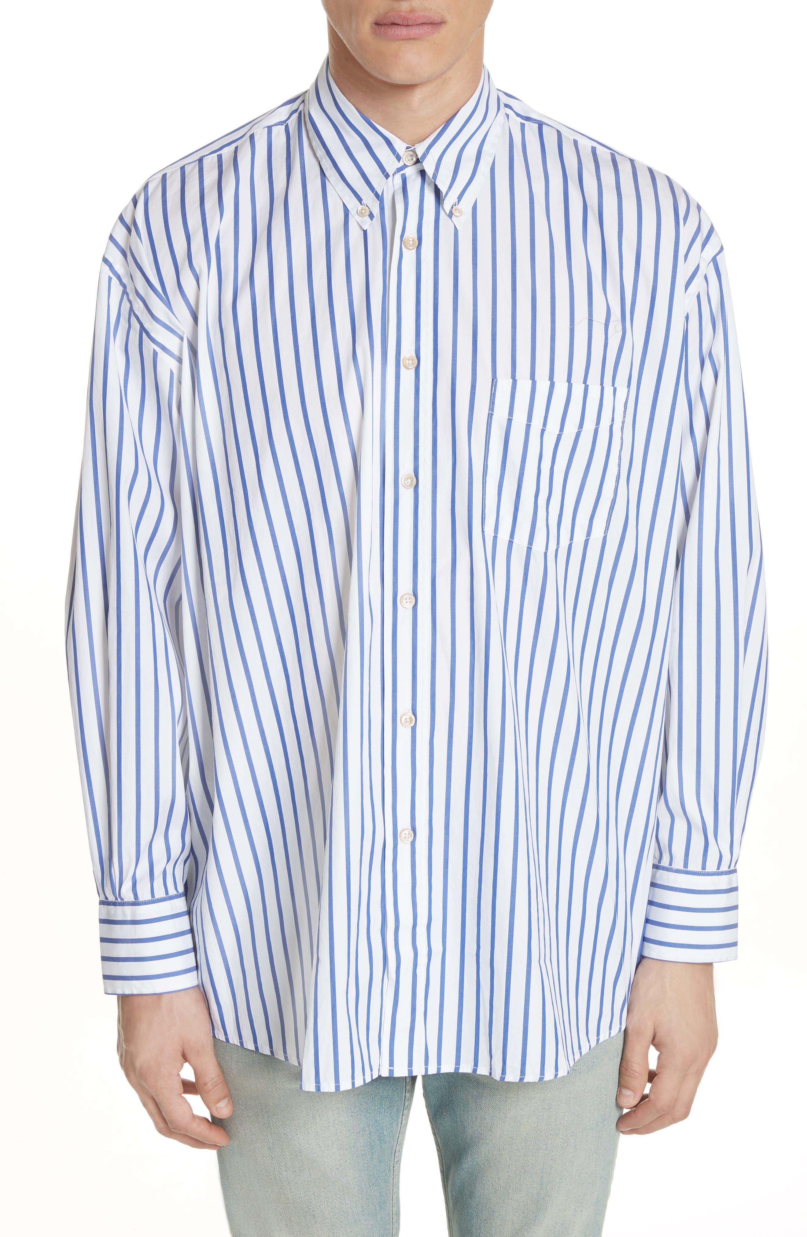 Oversize Stripe Woven Shirt,                         Main,                         color, Blue Candy