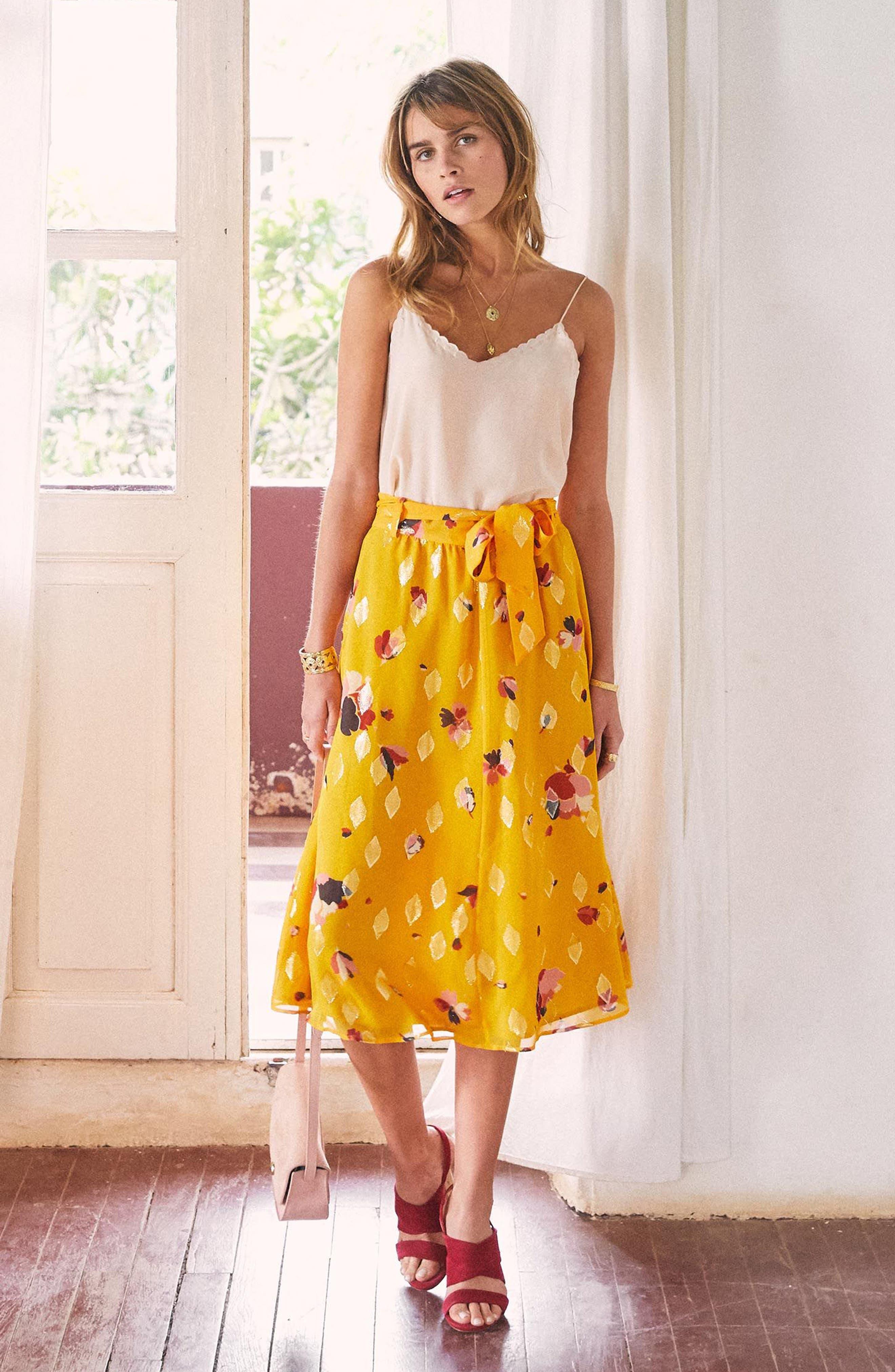 Arizona Floral & Metallic Silk Blend Skirt,                             Alternate thumbnail 2, color,                             Big Flowers 60S On Saffron