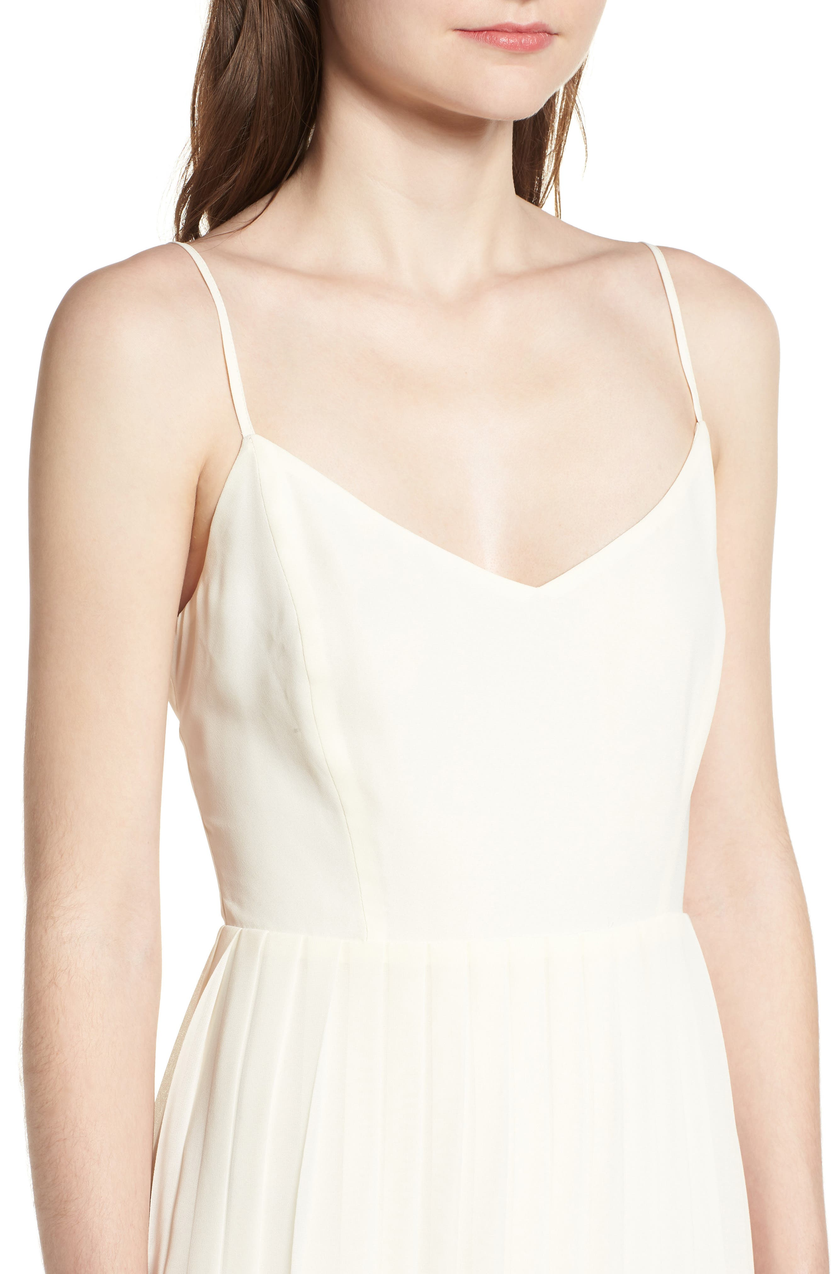 Deena Pleated Dress,                             Alternate thumbnail 4, color,                             Ivory