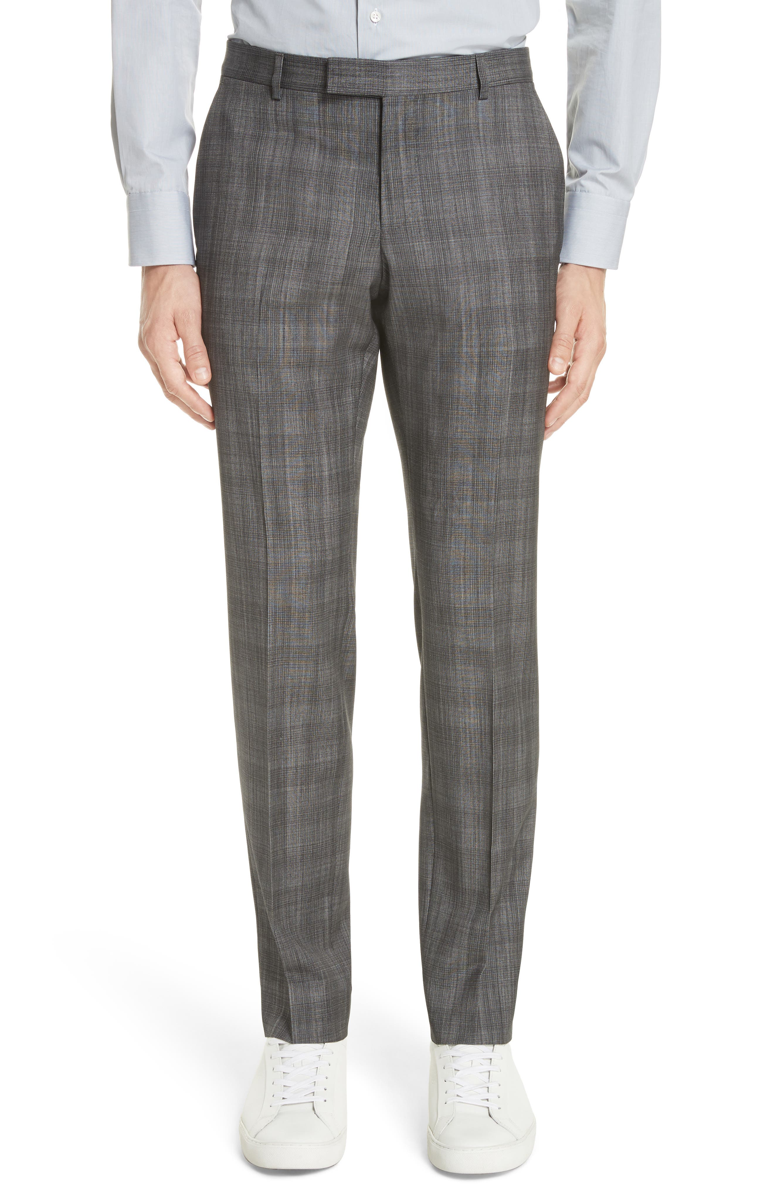 Classic Fit Plaid Wool & Silk Suit,                             Alternate thumbnail 6, color,                             Dark Grey Check