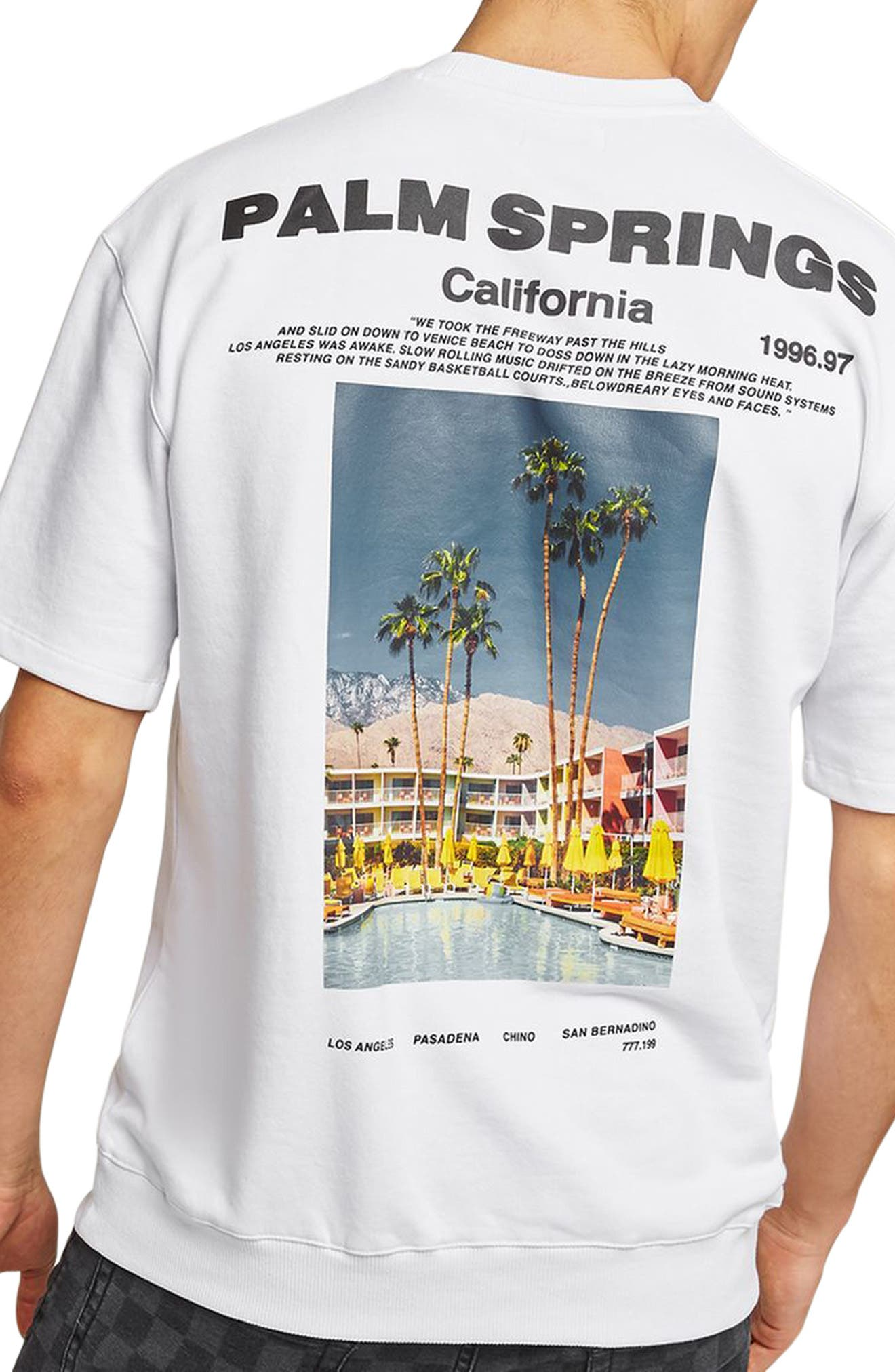 California Graphic Short Sleeve Sweatshirt,                             Alternate thumbnail 2, color,                             White