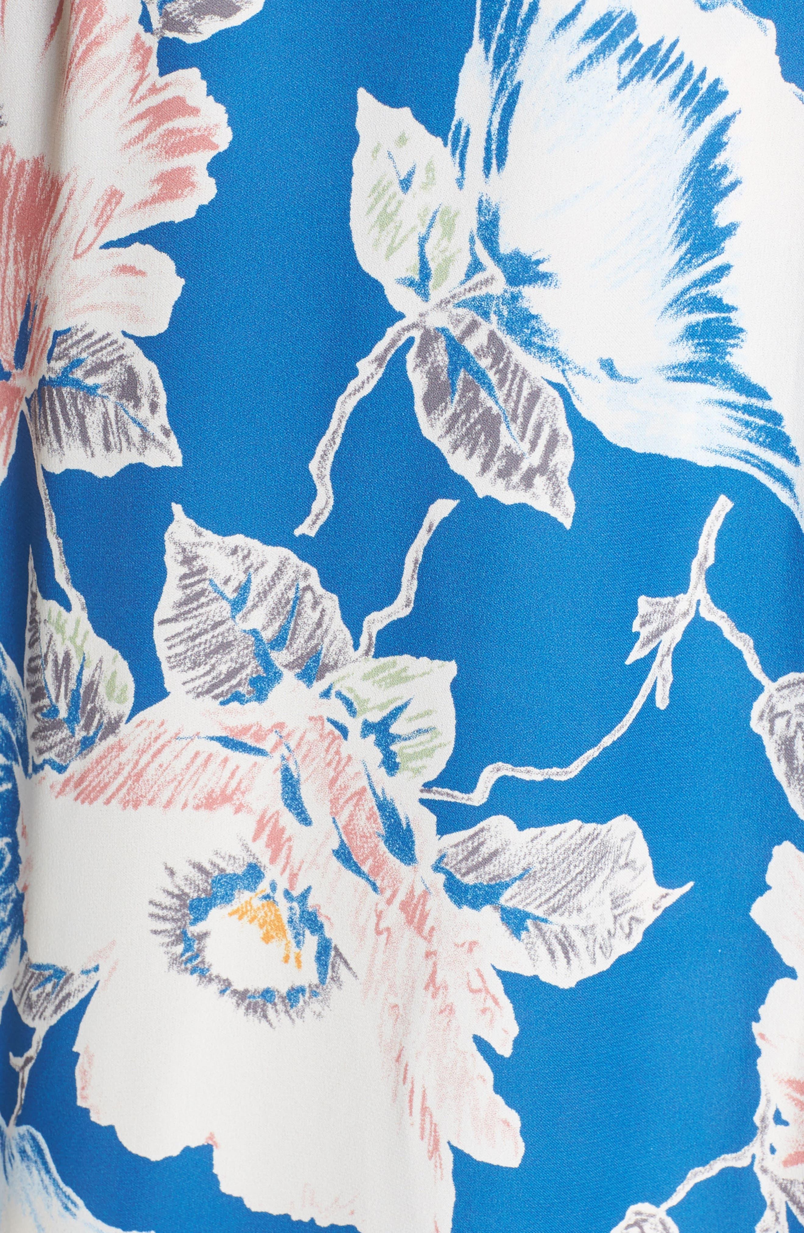 Cari Faux Wrap Crepe Dress,                             Alternate thumbnail 6, color,                             Vintage Blue