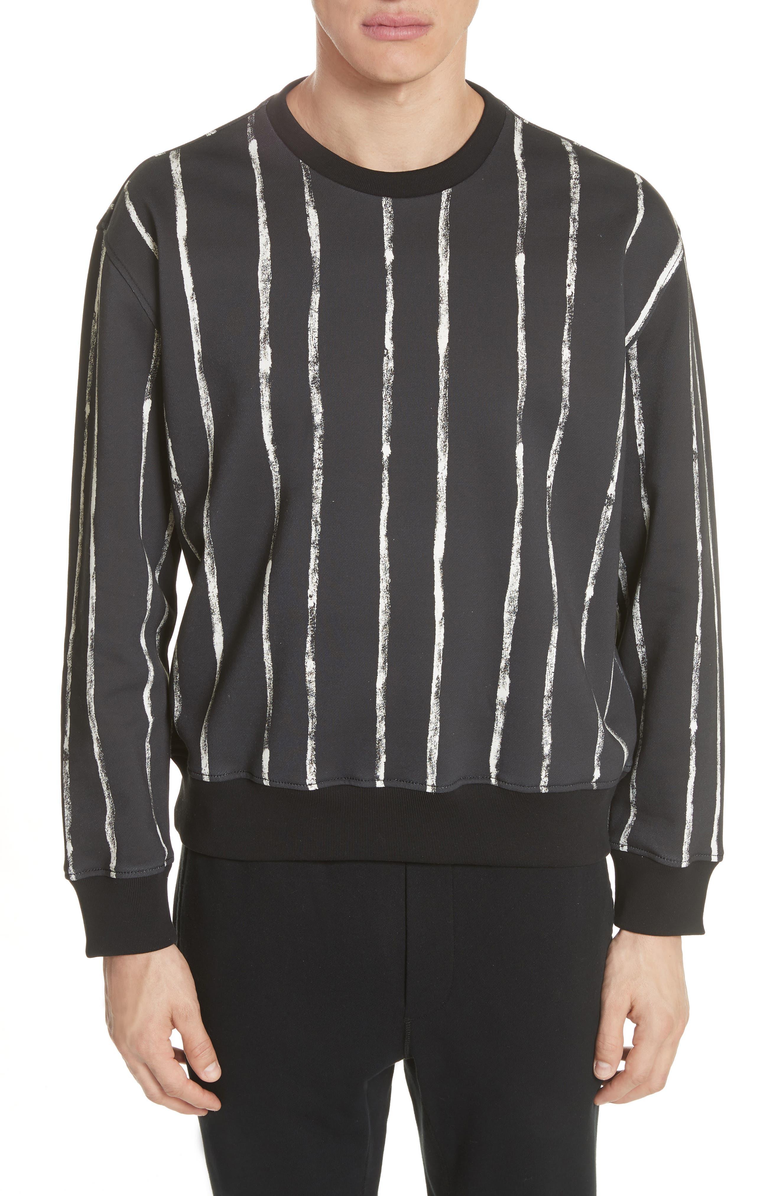 Paint Stripe Crewneck Sweatshirt,                         Main,                         color, Black/ White