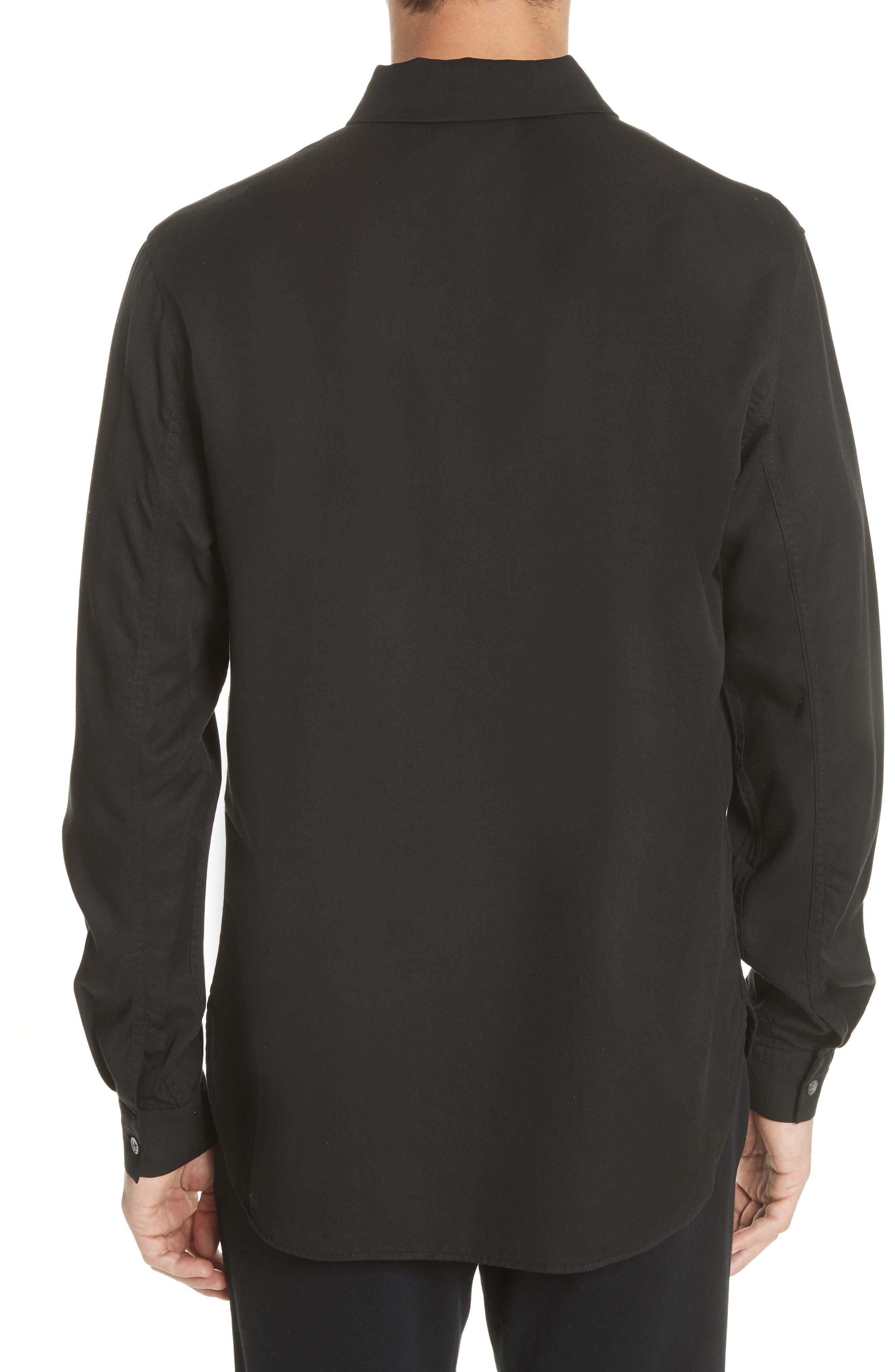 Zip Shirt Jacket,                             Alternate thumbnail 3, color,                             Black