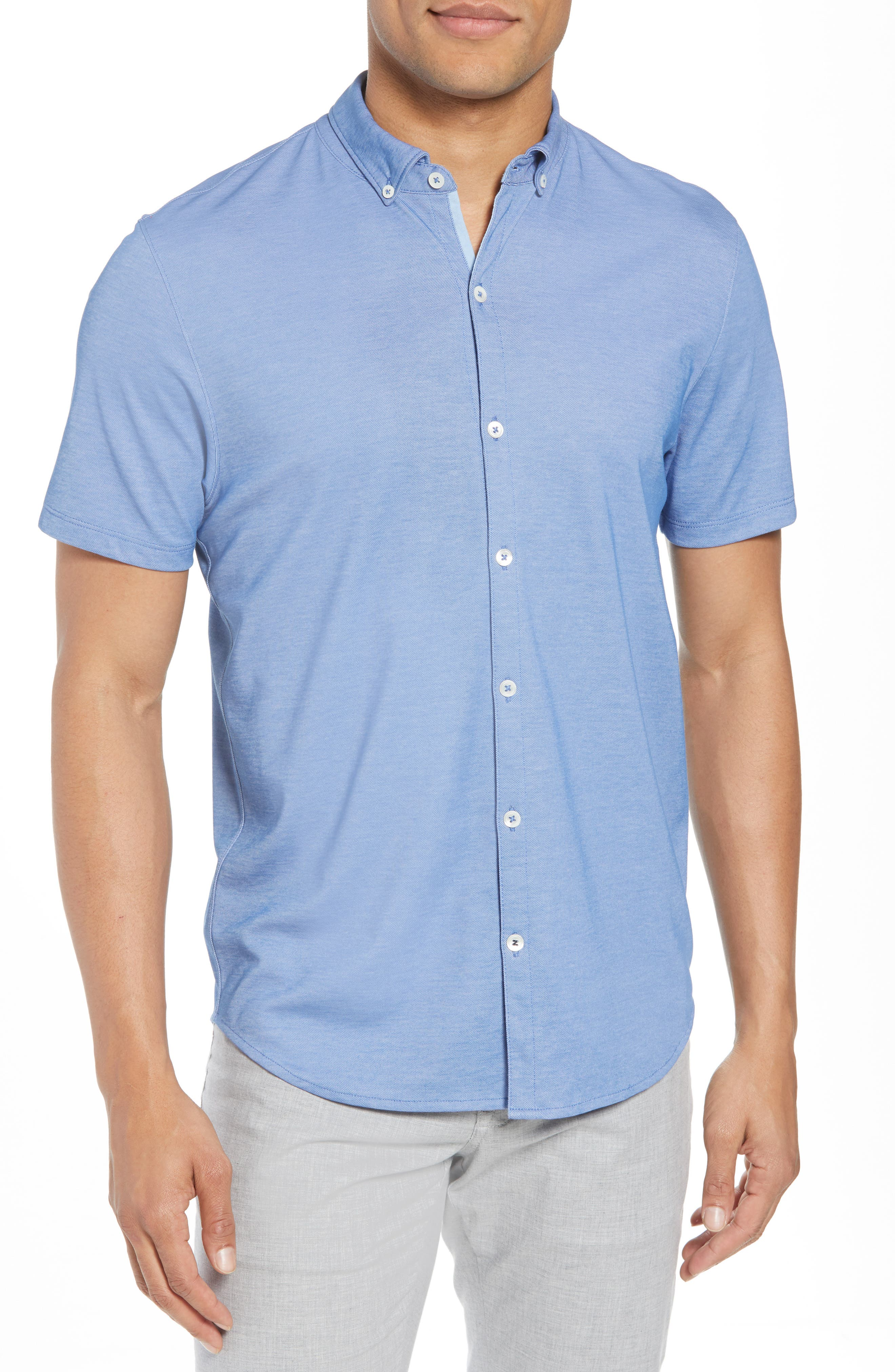 Caruth Piqué Sport Shirt,                             Main thumbnail 1, color,                             Azure