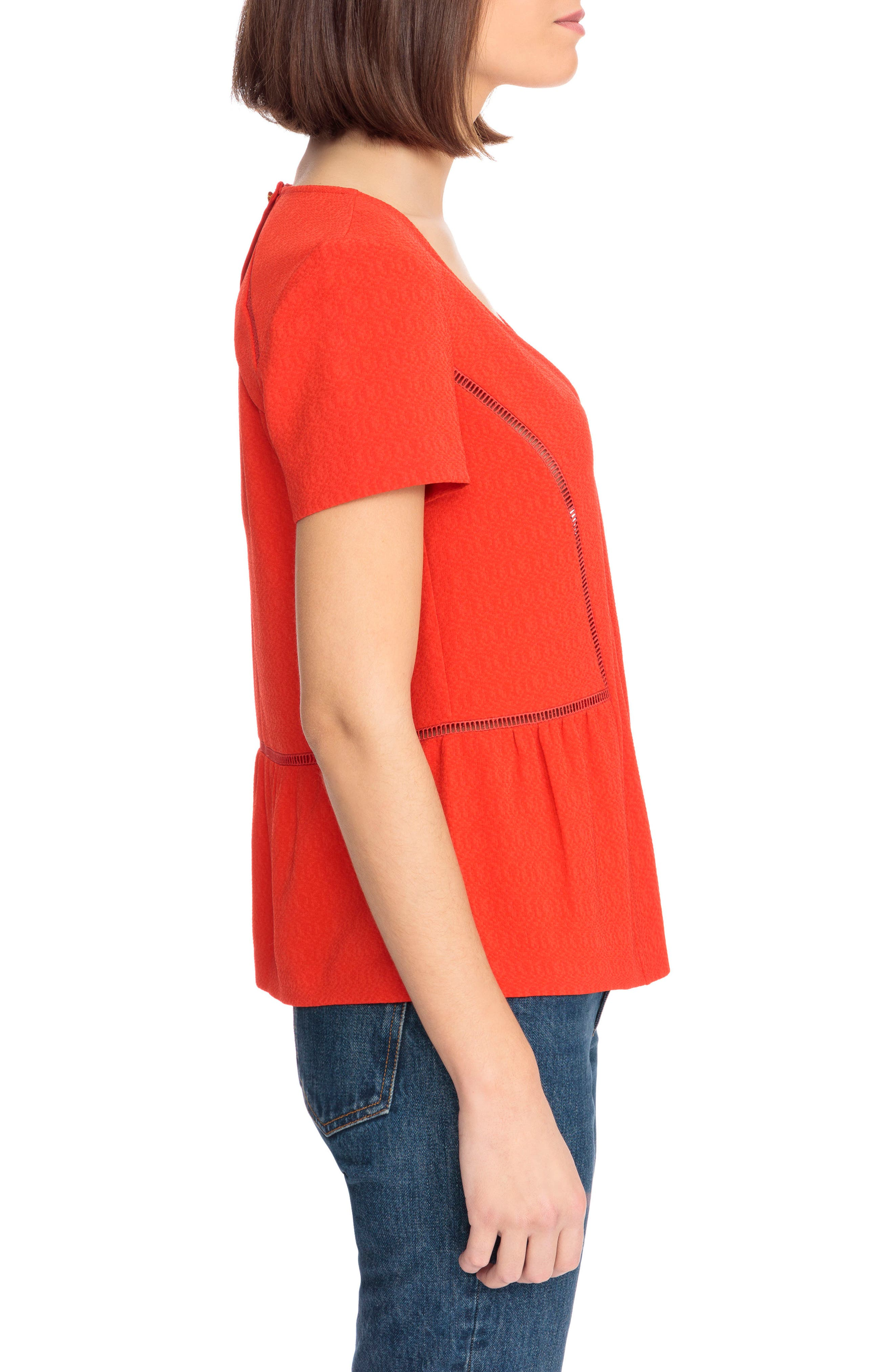 Amanda Ladder Stitch Blouse,                             Alternate thumbnail 3, color,                             Coral Red