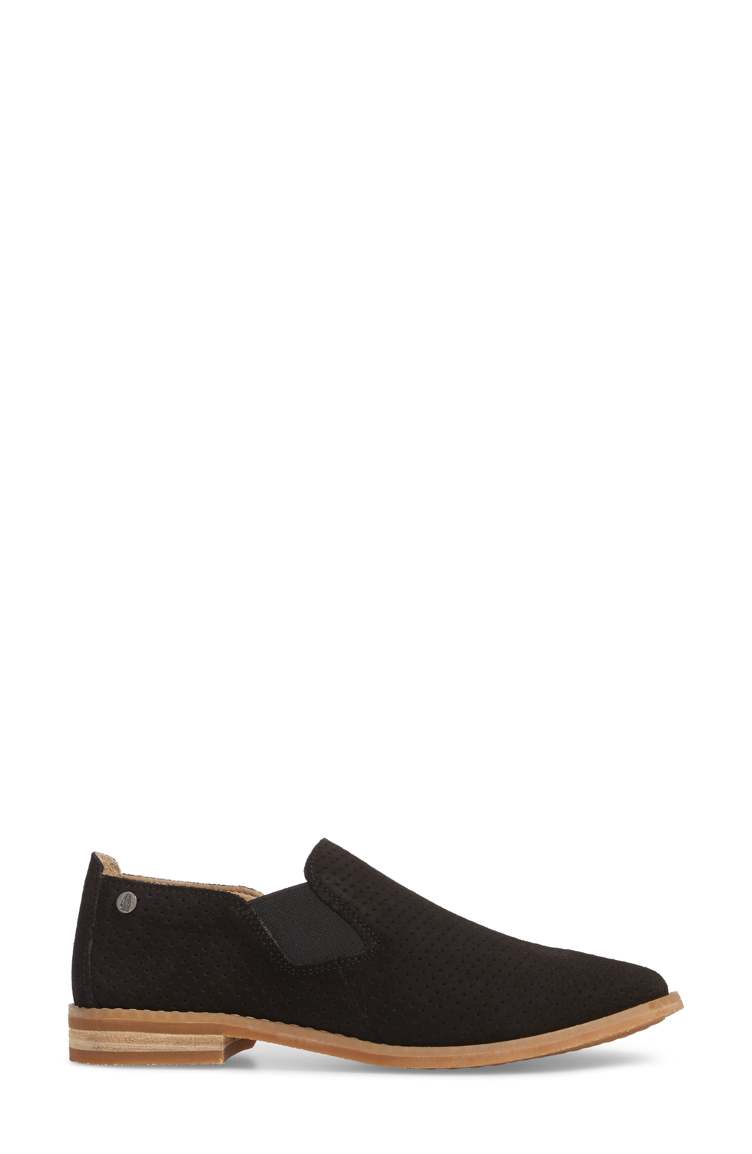 Hush Puppies Analise Clever Slip-On,                             Alternate thumbnail 3, color,                             Black Perforated Suede