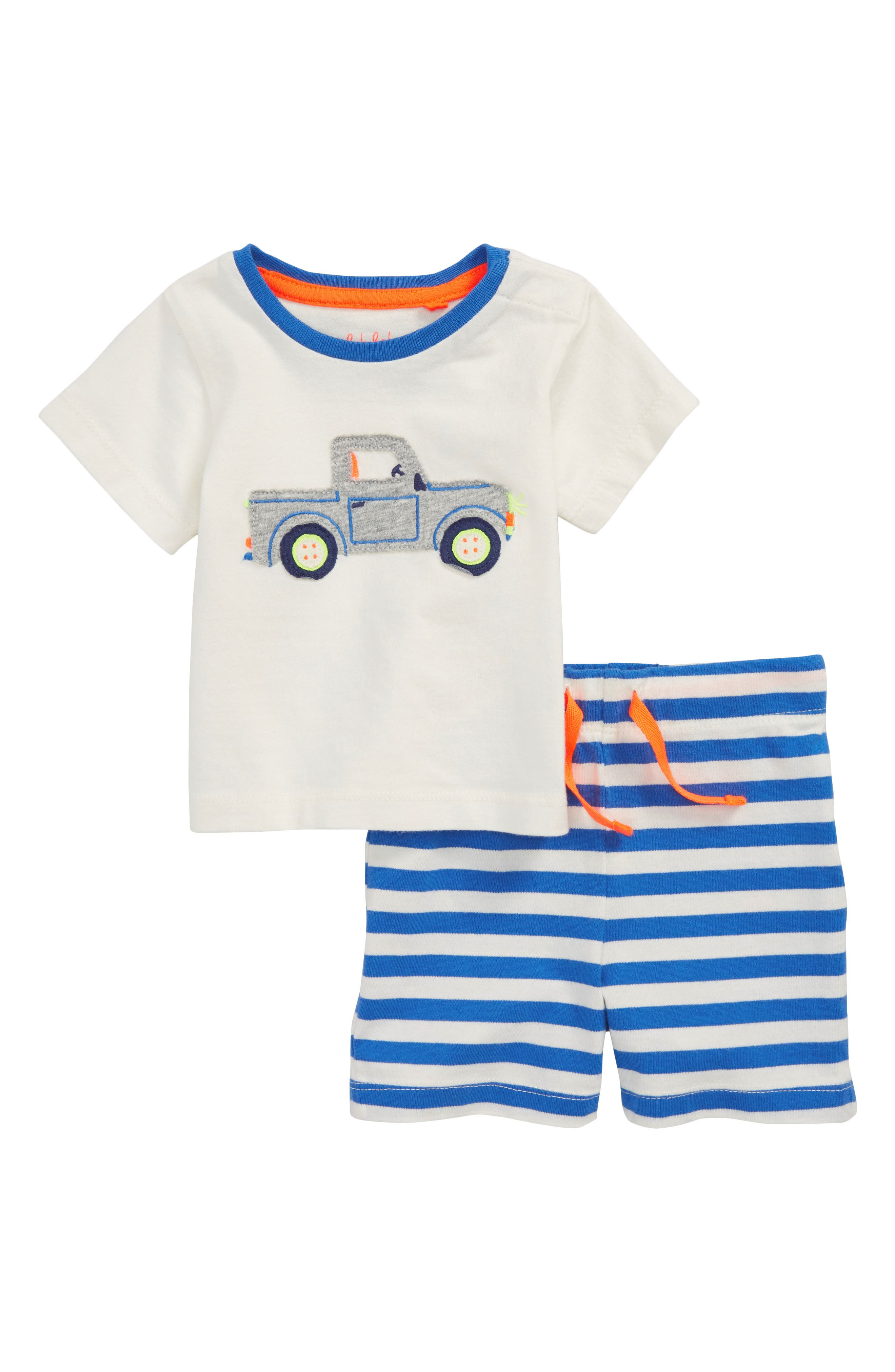 Fun Truck Appliqué T-Shirt & Shorts Set,                         Main,                         color, Ivory Truck