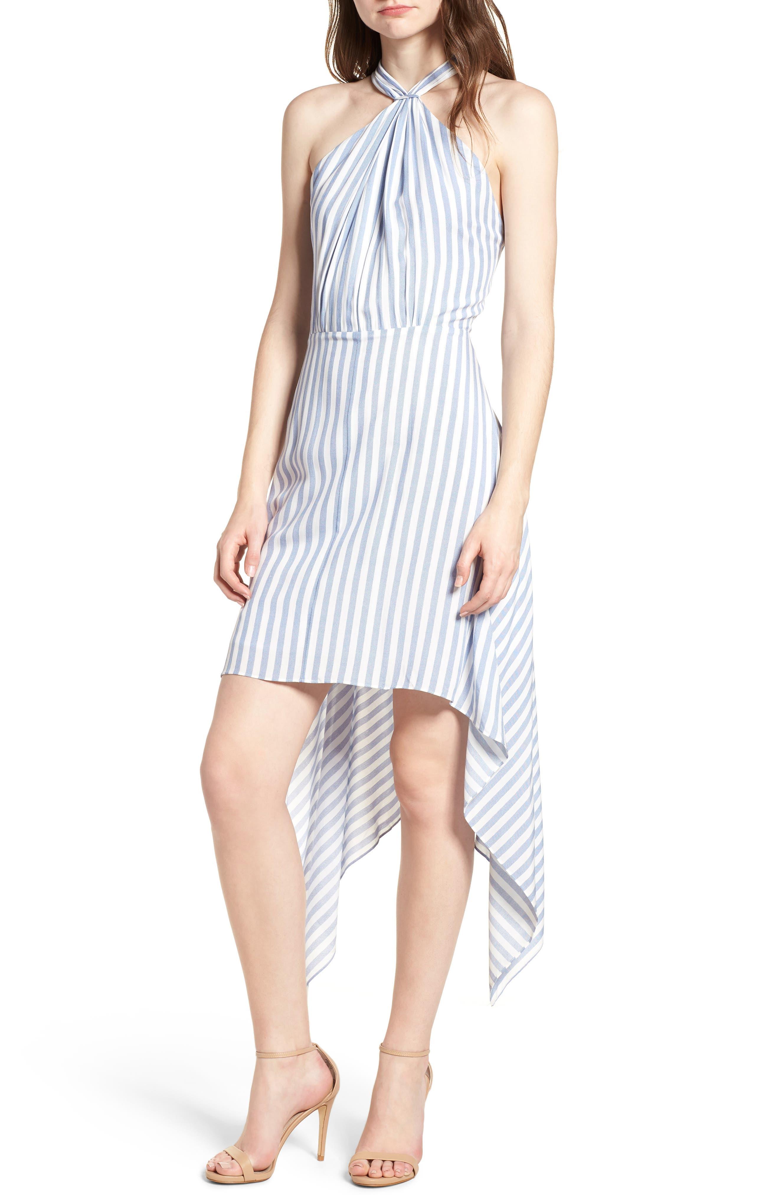 Bishop + Young Ana Stripe Shark Bite Hem Halter Dress,                             Main thumbnail 1, color,                             Blue White Stripe