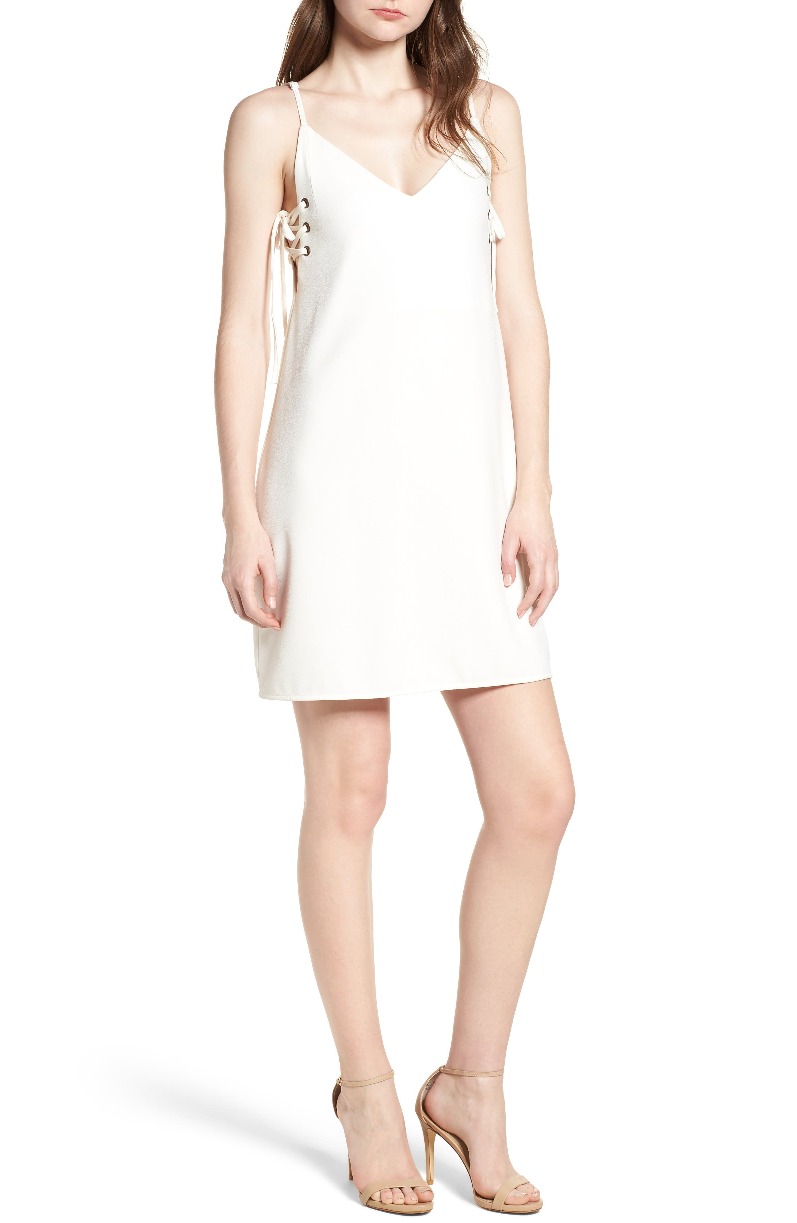 Bishop + Young Ana Lace-Up Shift Dress,                             Main thumbnail 1, color,                             White