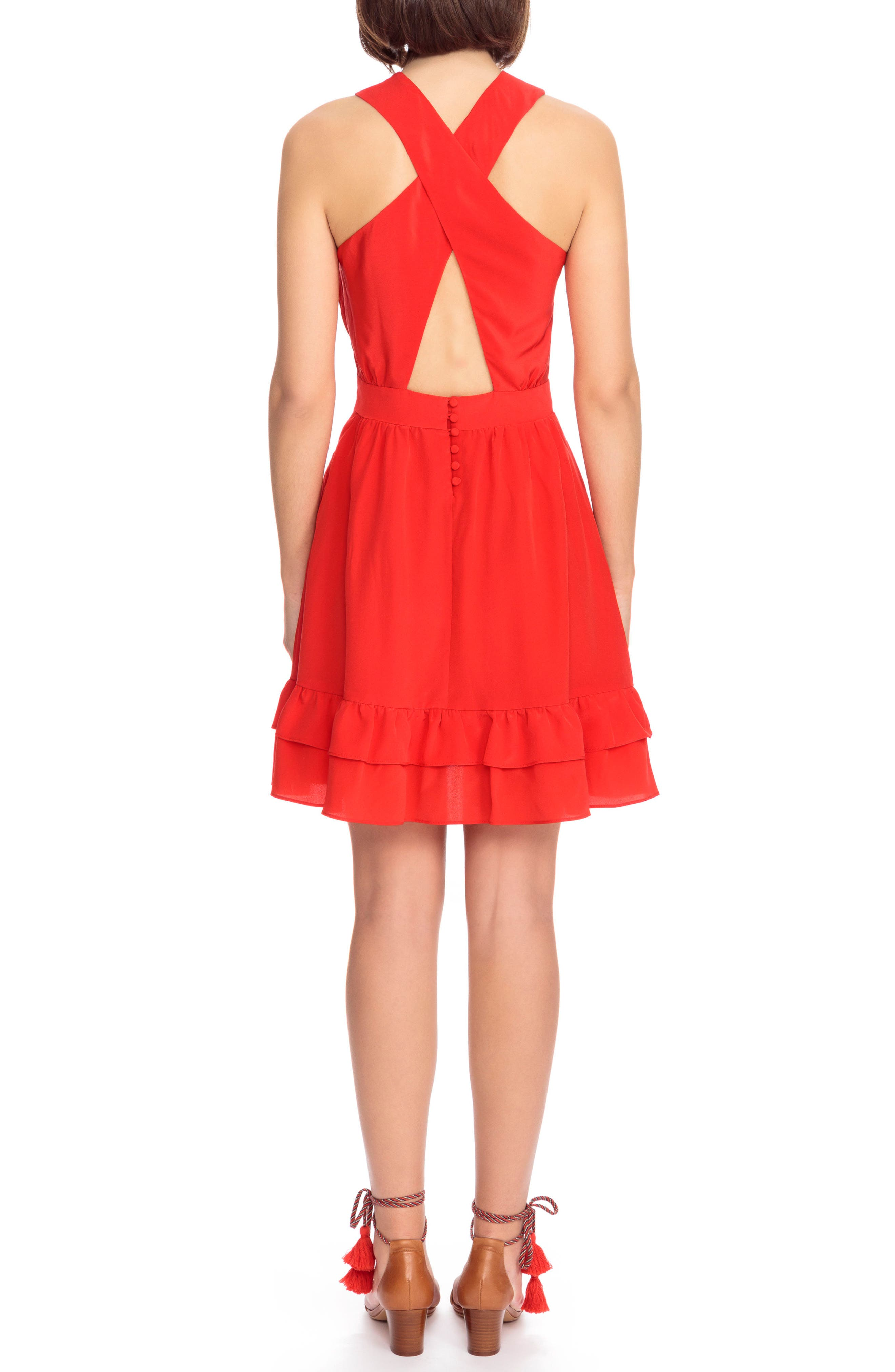 Alma Silk Fit & Flare Dress,                             Alternate thumbnail 3, color,                             Coral Red