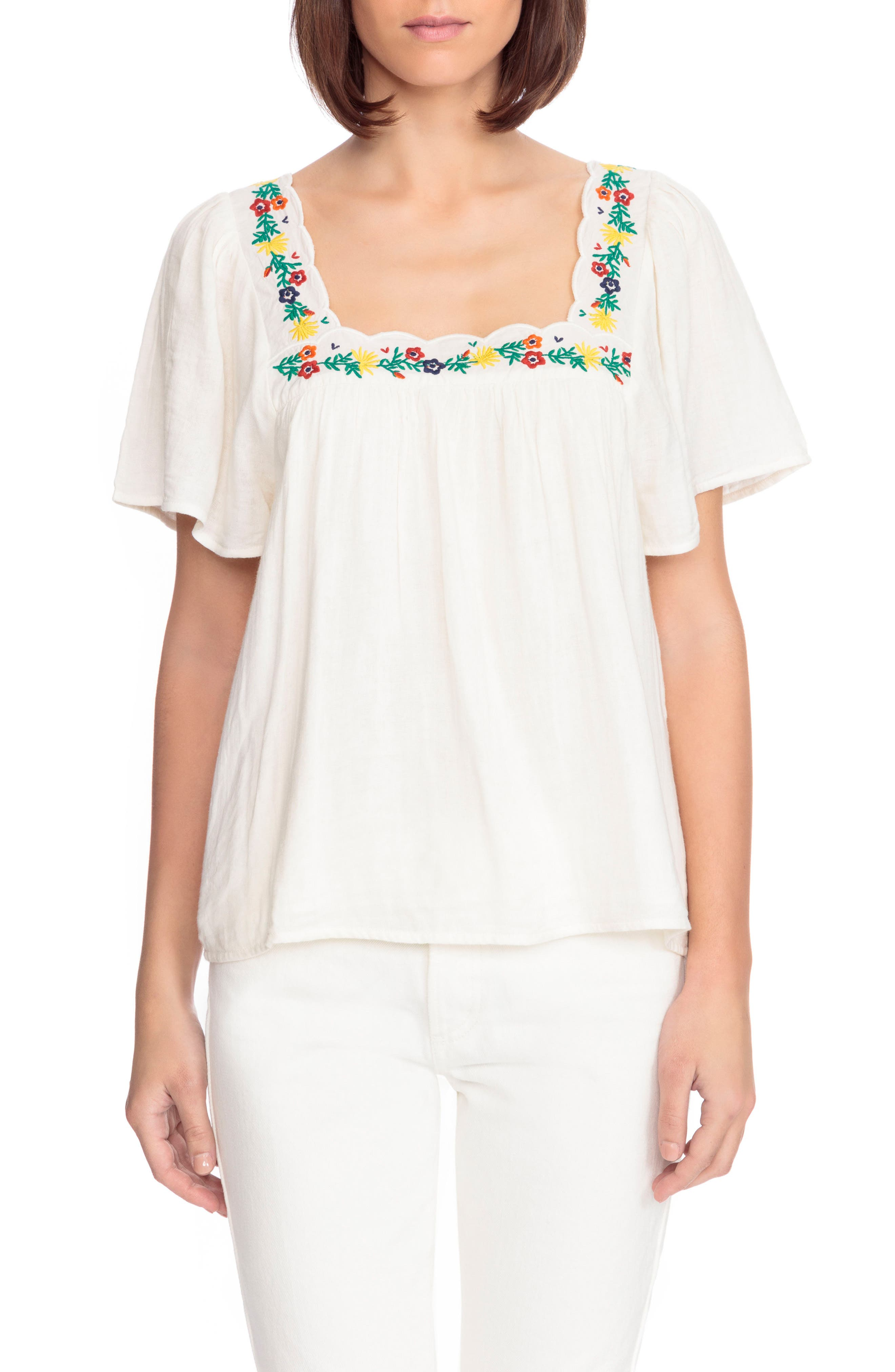 Bea Scalloped Top,                             Main thumbnail 1, color,                             Off White