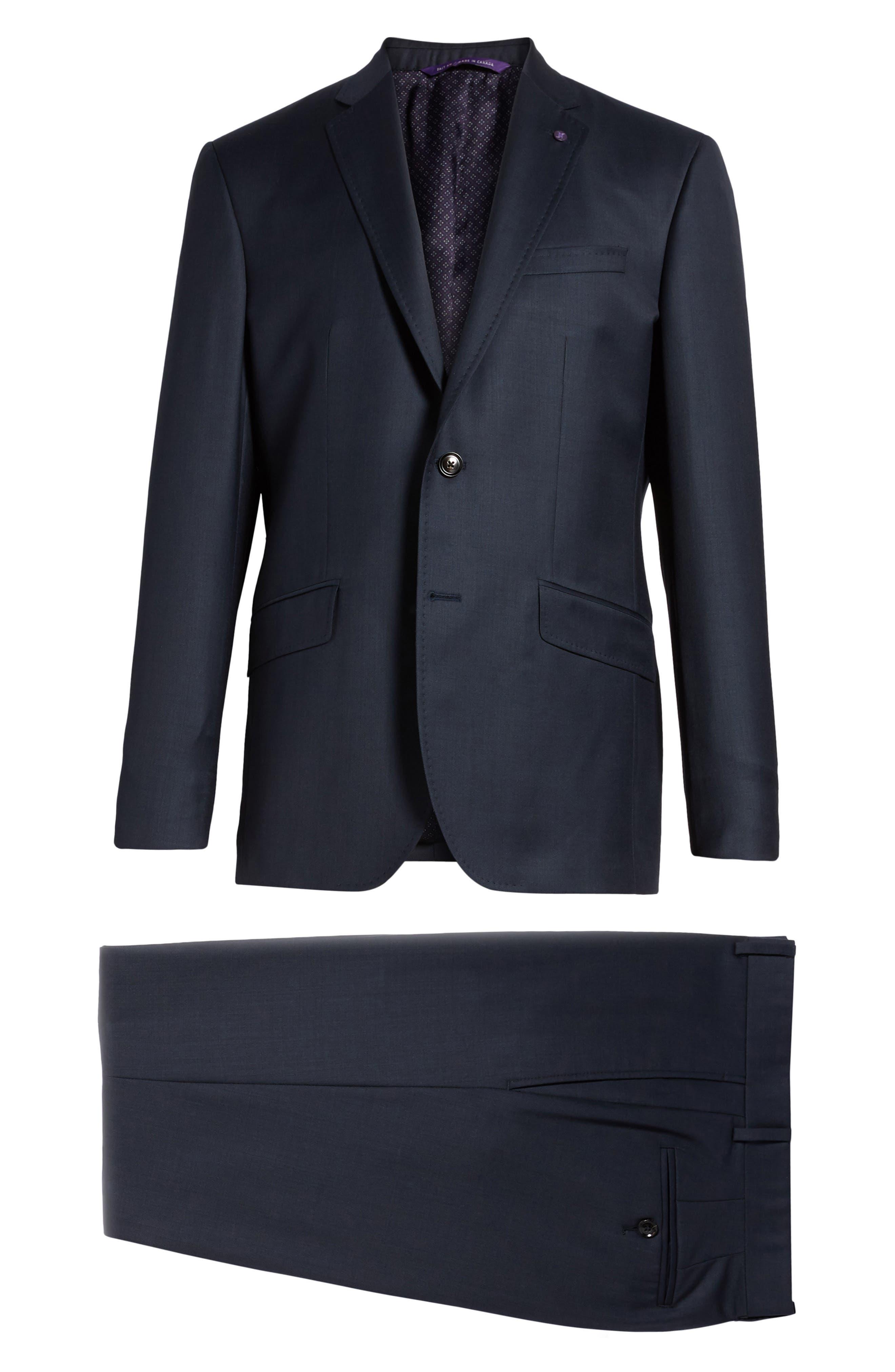 Jones Trim Fit Solid Wool Suit,                             Alternate thumbnail 8, color,                             Blue