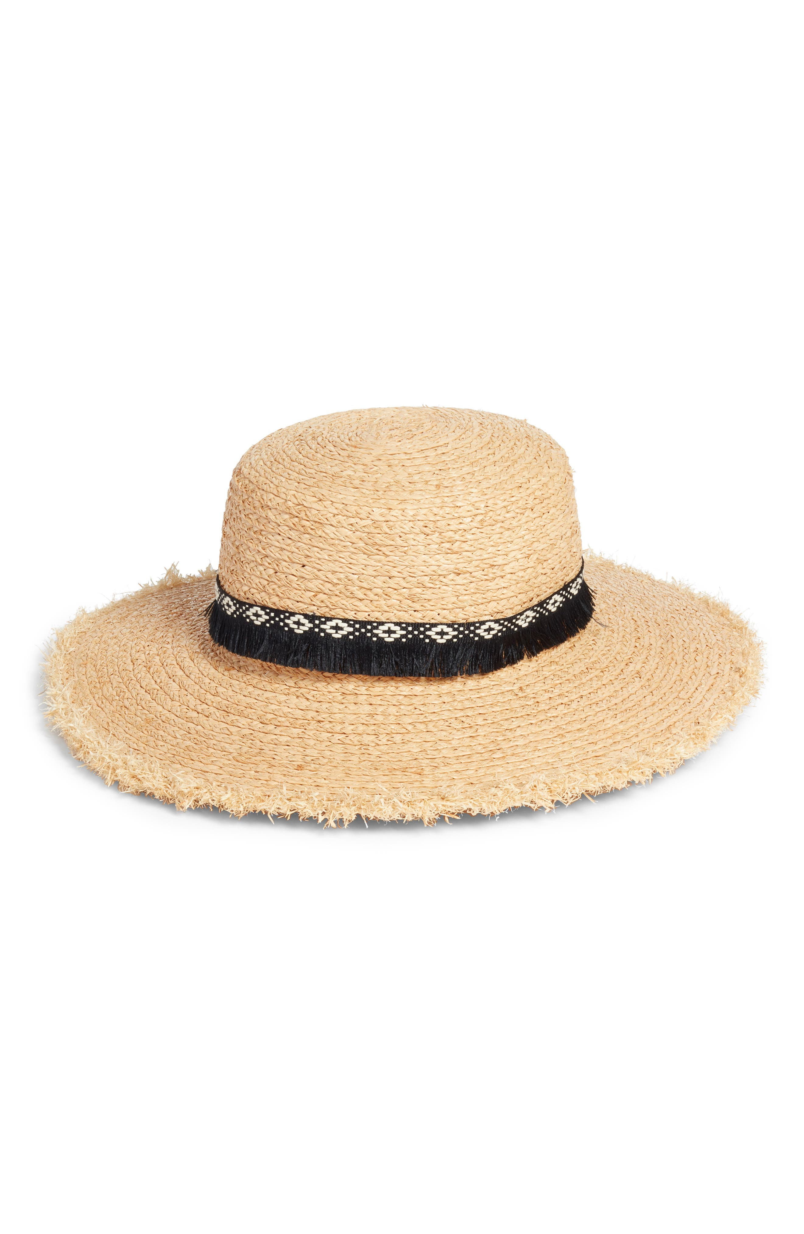 Caslon® Fringe Trim Straw Boater Hat