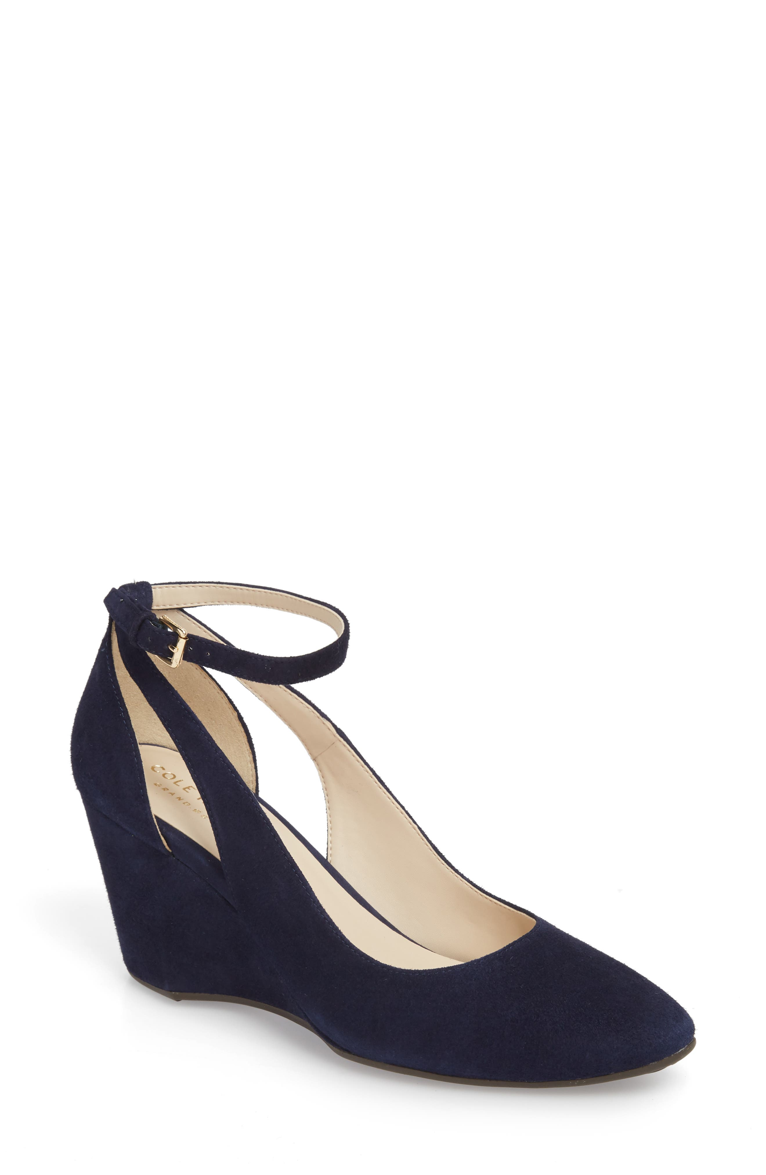 Lacey Cutout Wedge Pump in Marine Blue Suede